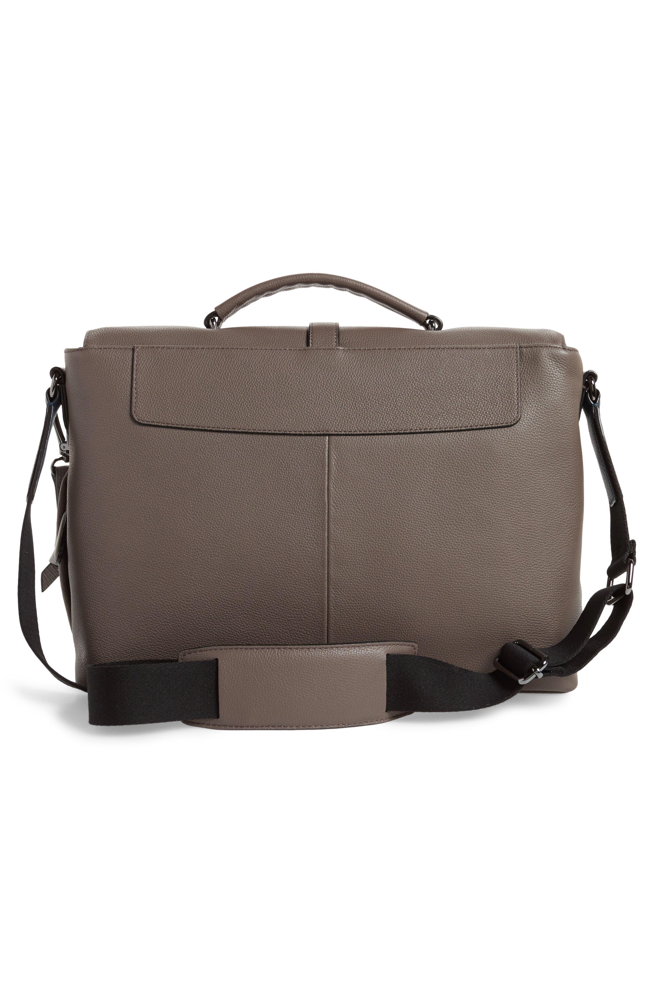 Ted Baker Sandune Leather Messenger Bag,                             Alternate thumbnail 2, color,                             Grey