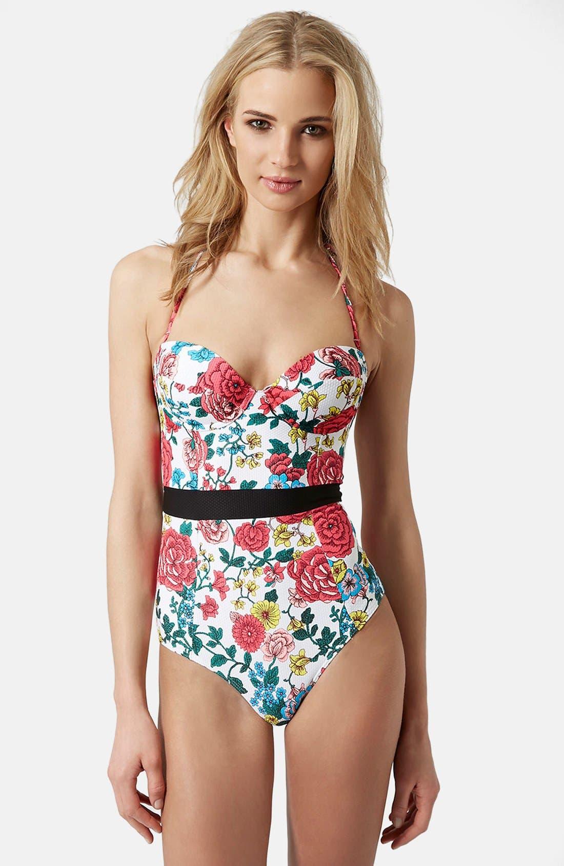 Main Image - Topshop Floral Halter Swimsuit