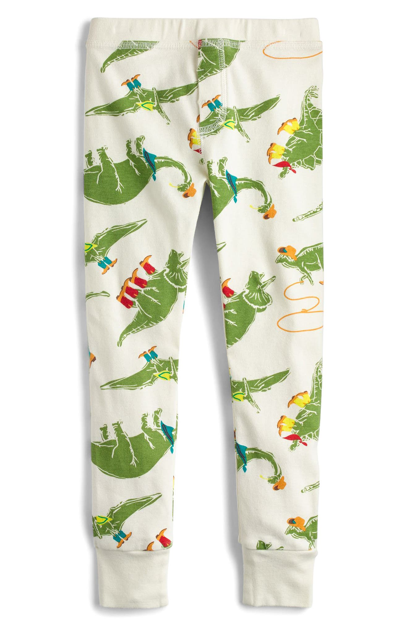 Cowboy Dinosaur Print Fitted Two-Piece Pajamas,                             Alternate thumbnail 3, color,                             Ivory