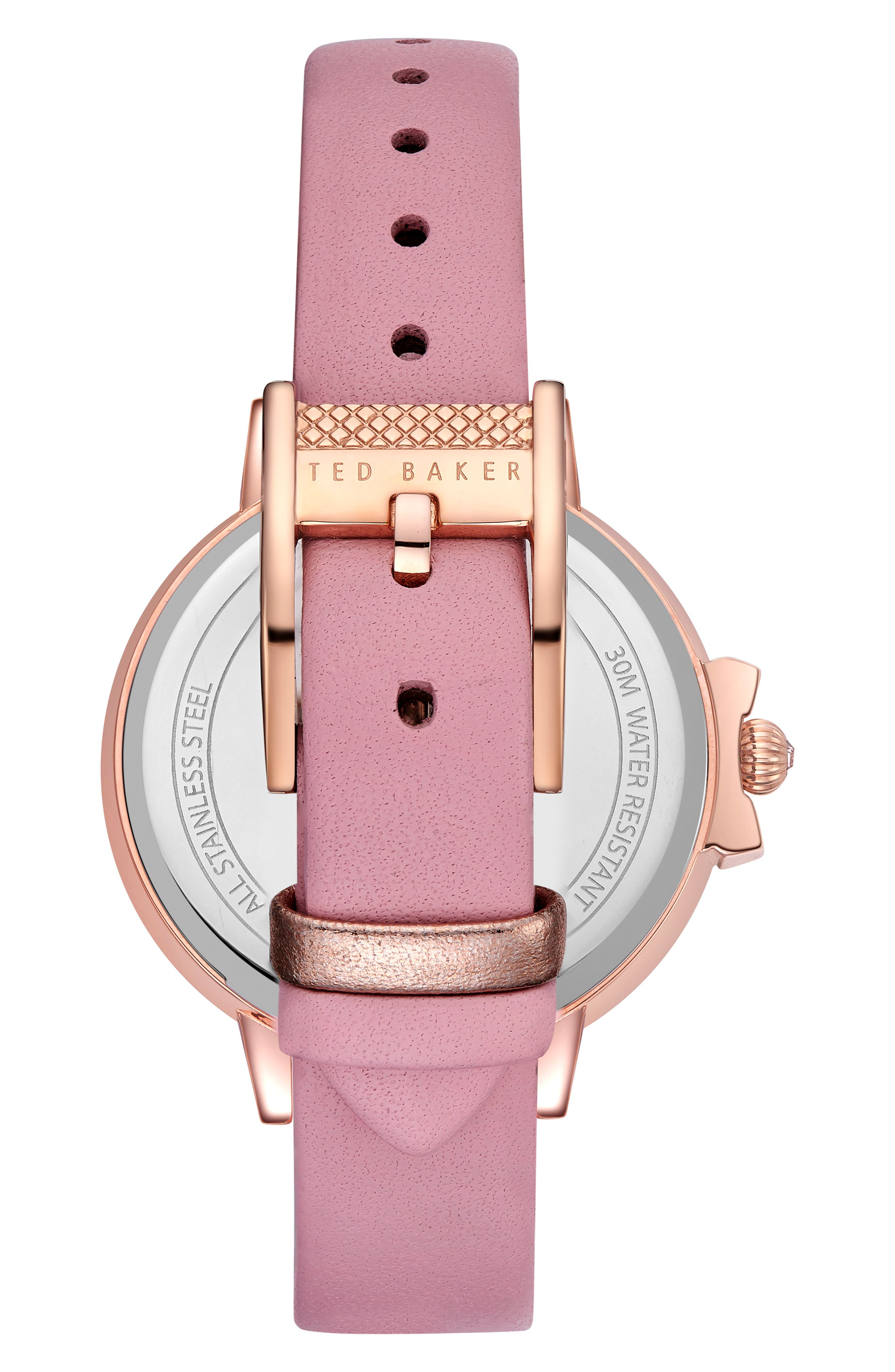 Leather Strap Watch, 36mm,                             Alternate thumbnail 3, color,                             Pink/ Black/ Rose Gold