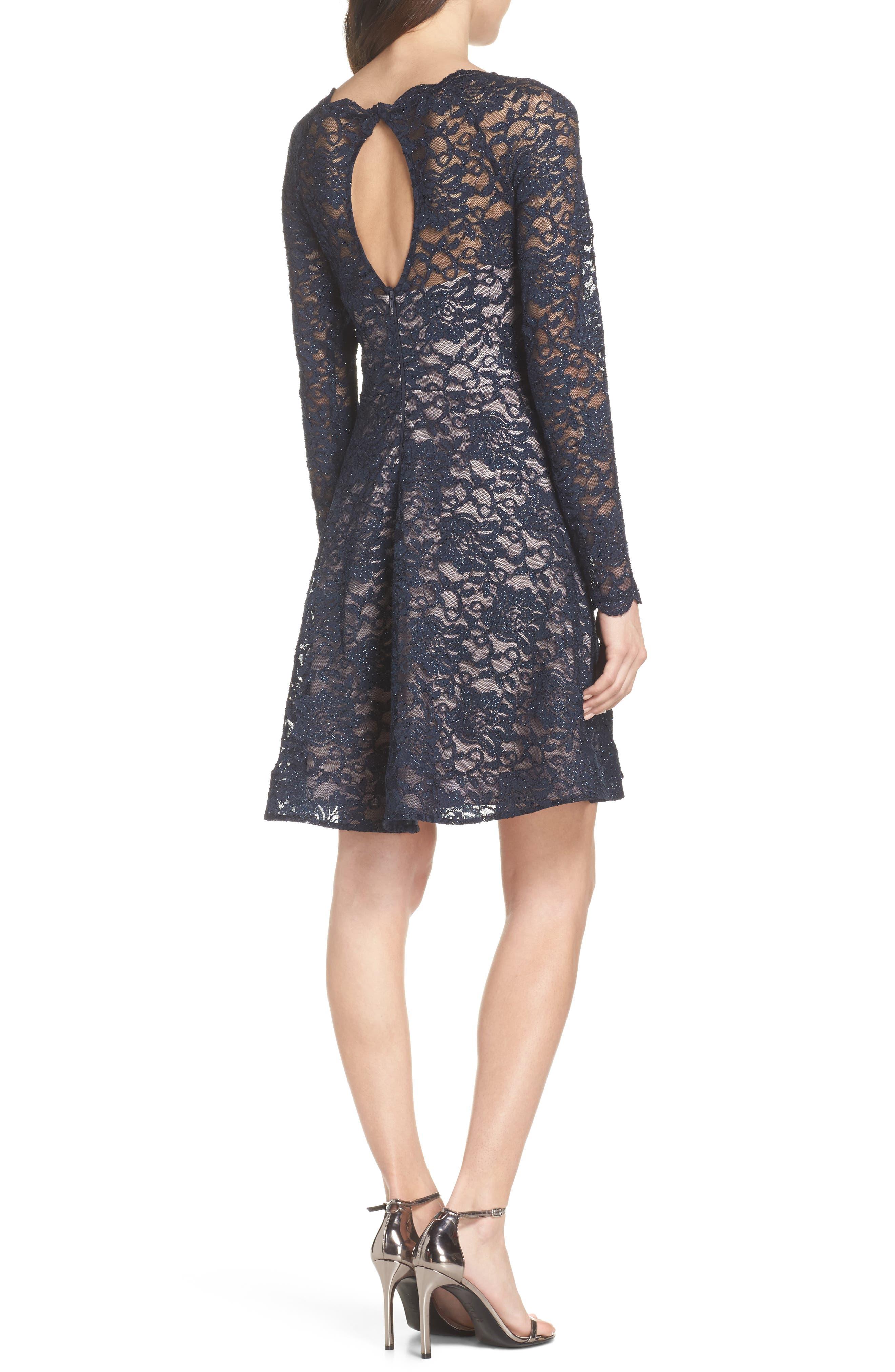 Glitter Lace Fit & Flare Dress,                             Alternate thumbnail 2, color,                             Navy/ Mauve