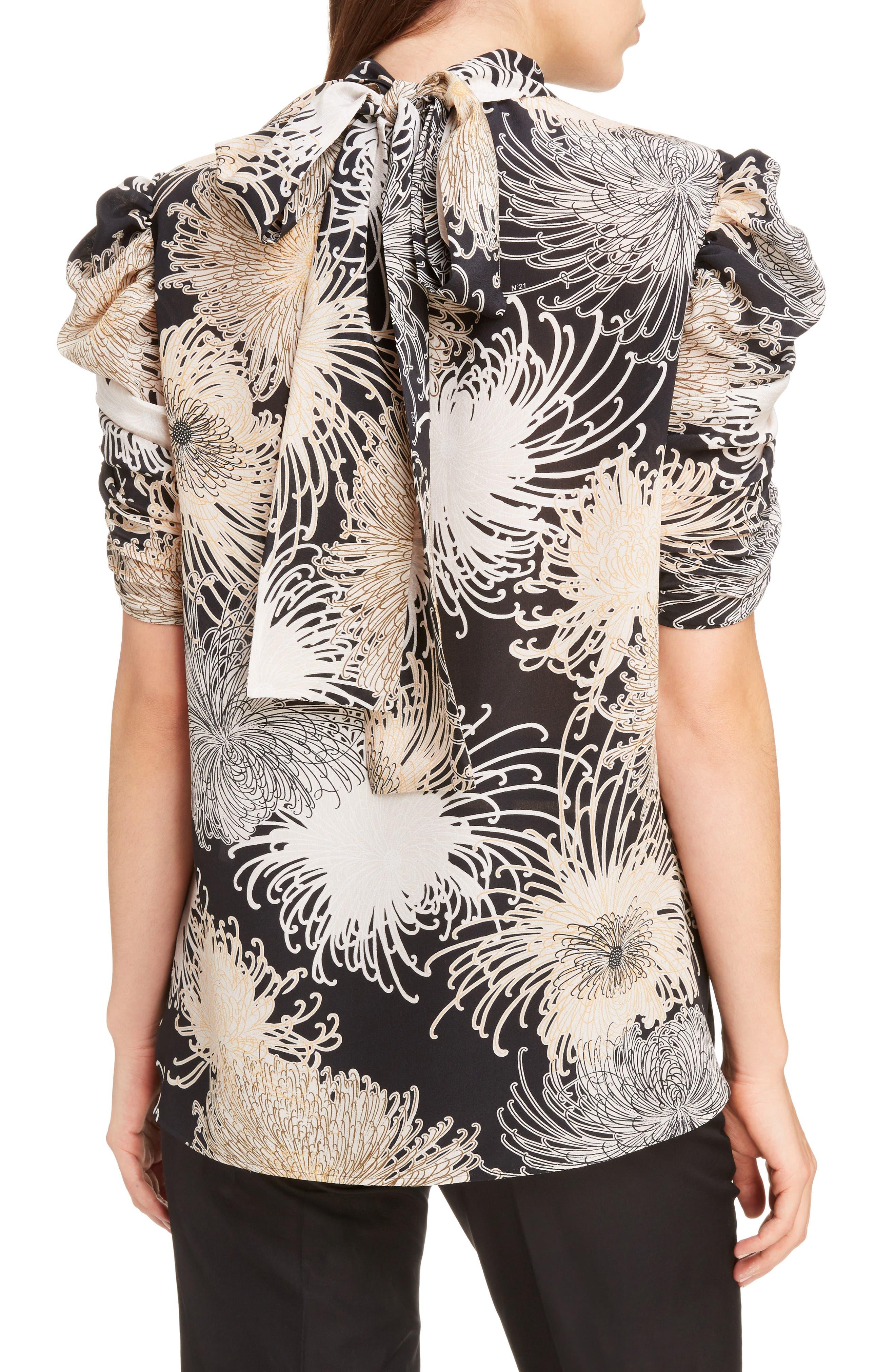 Nº21 Floral Print Tie Back Silk Top,                             Alternate thumbnail 2, color,                             Black