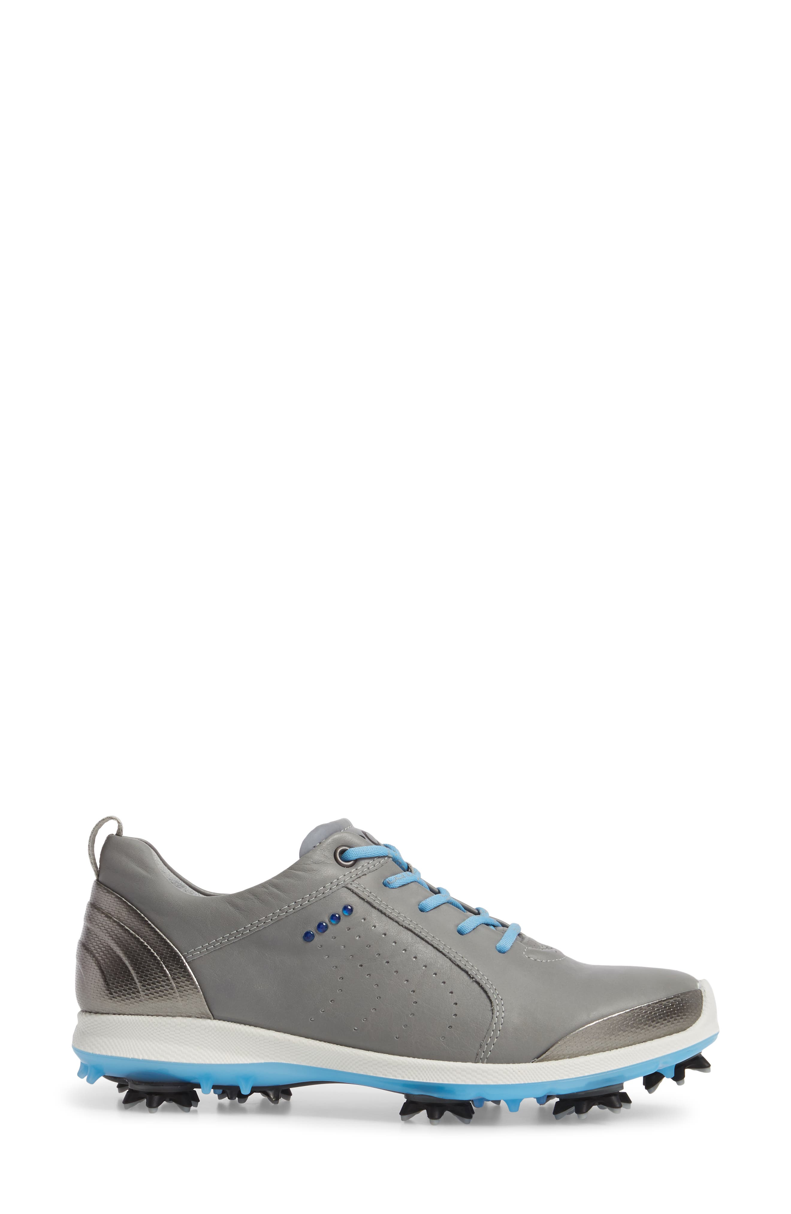 BIOM 2 Waterproof Golf Shoe,                             Alternate thumbnail 3, color,                             Wild Dove/ Sky Blue Leather