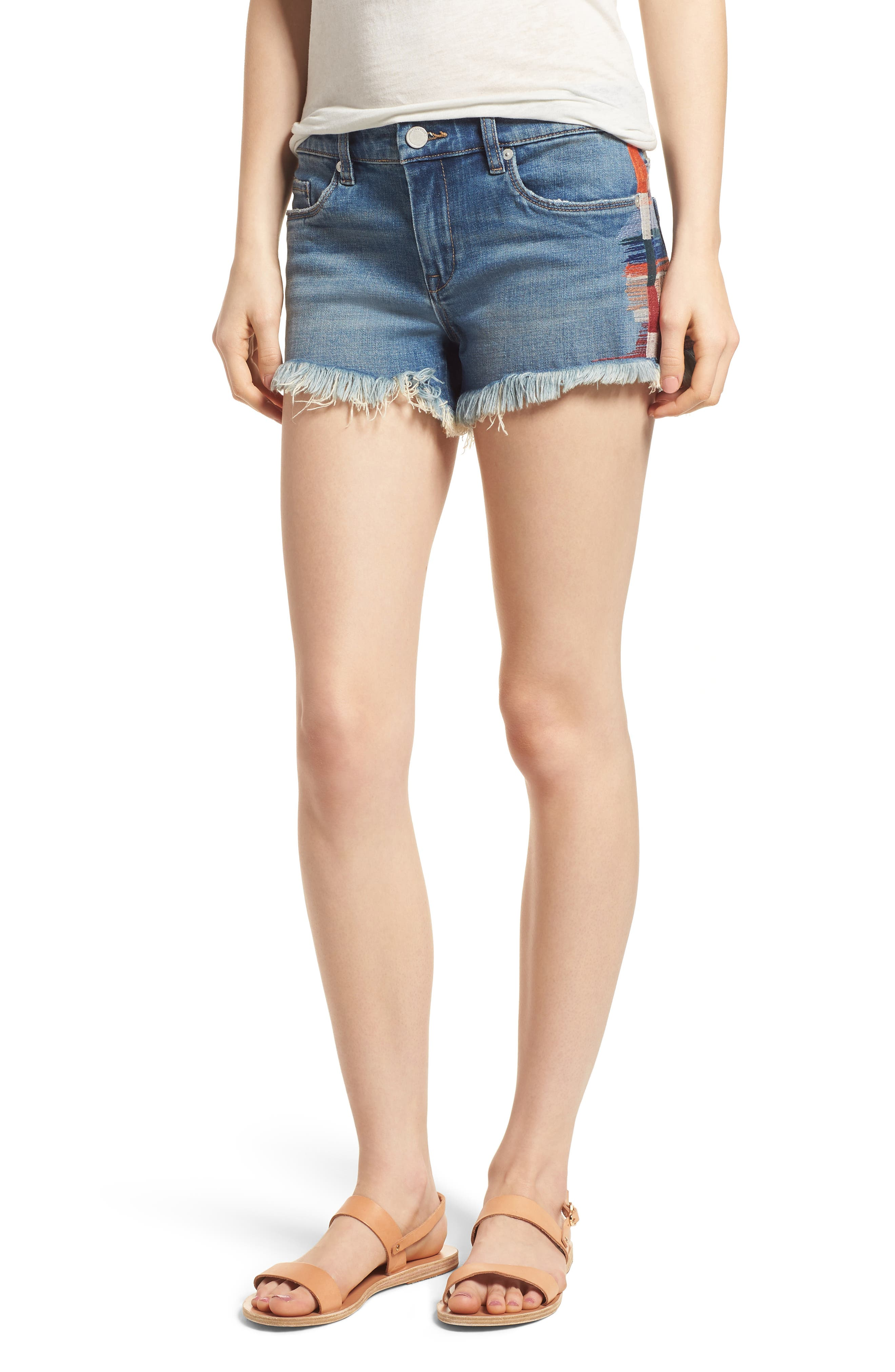 The Astor Embroidered Denim Shorts,                             Main thumbnail 1, color,                             East Coast Blue