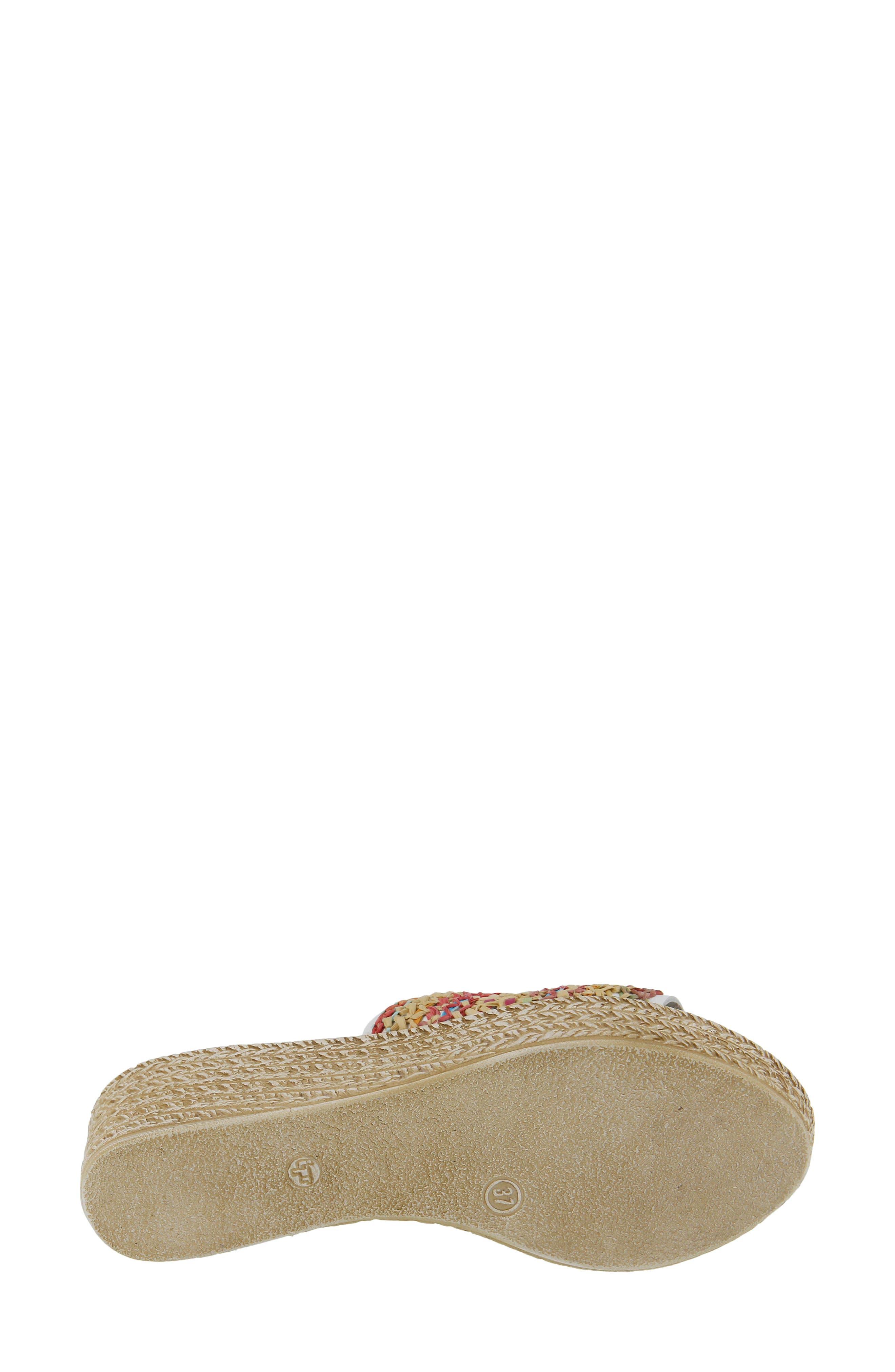 Calci Espadrille Wedge Sandal,                             Alternate thumbnail 5, color,                             White Leather