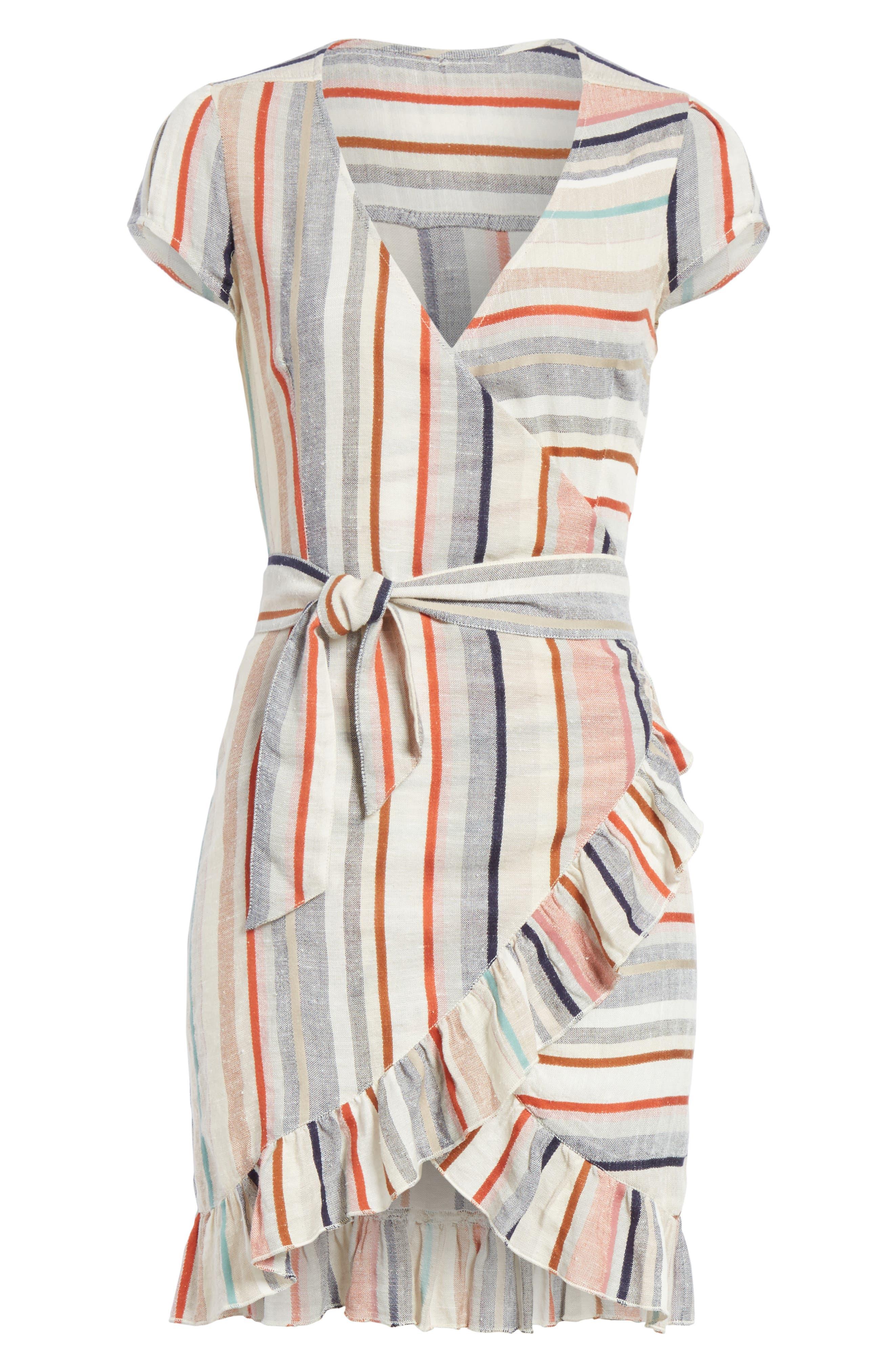 Wrap It Up Stripe Wrap Dress,                             Alternate thumbnail 6, color,                             Assort