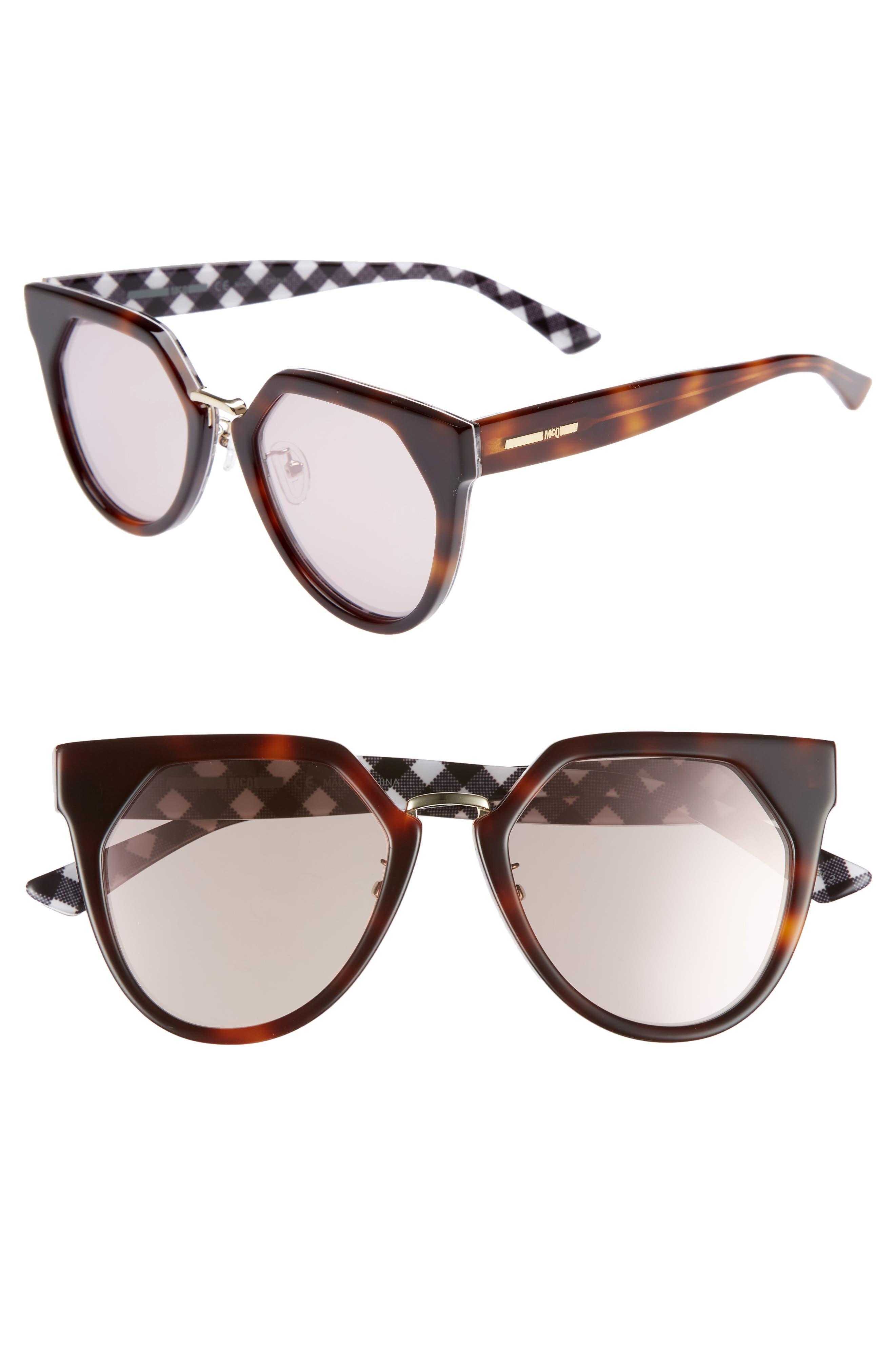 53mm Cat Eye Sunglasses,                             Main thumbnail 1, color,                             Havana