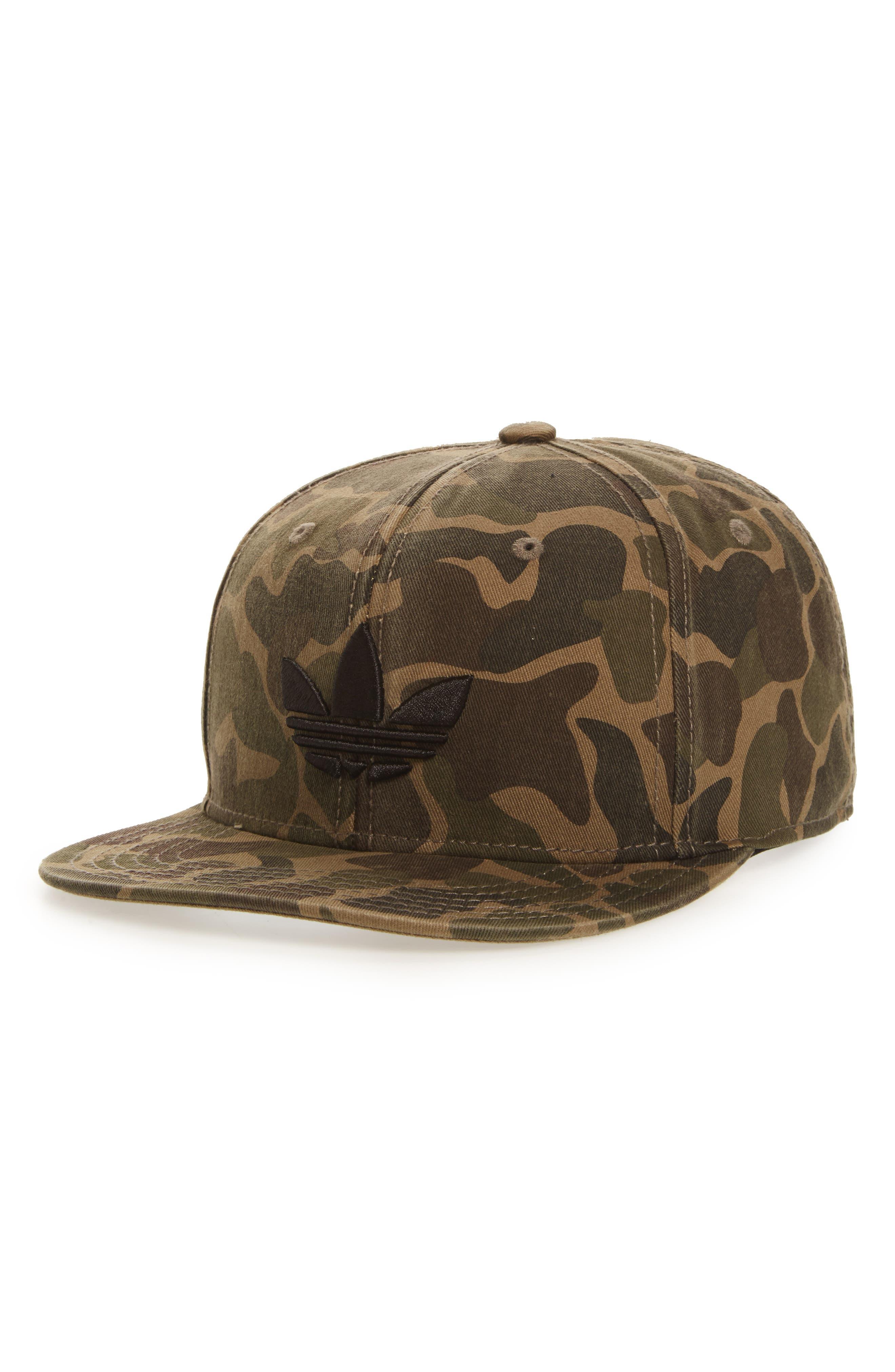 Adidas Originals Ori Trefoil Plus Snapback Baseball Cap - Green In Forest  Camo  Black 720fab98222a