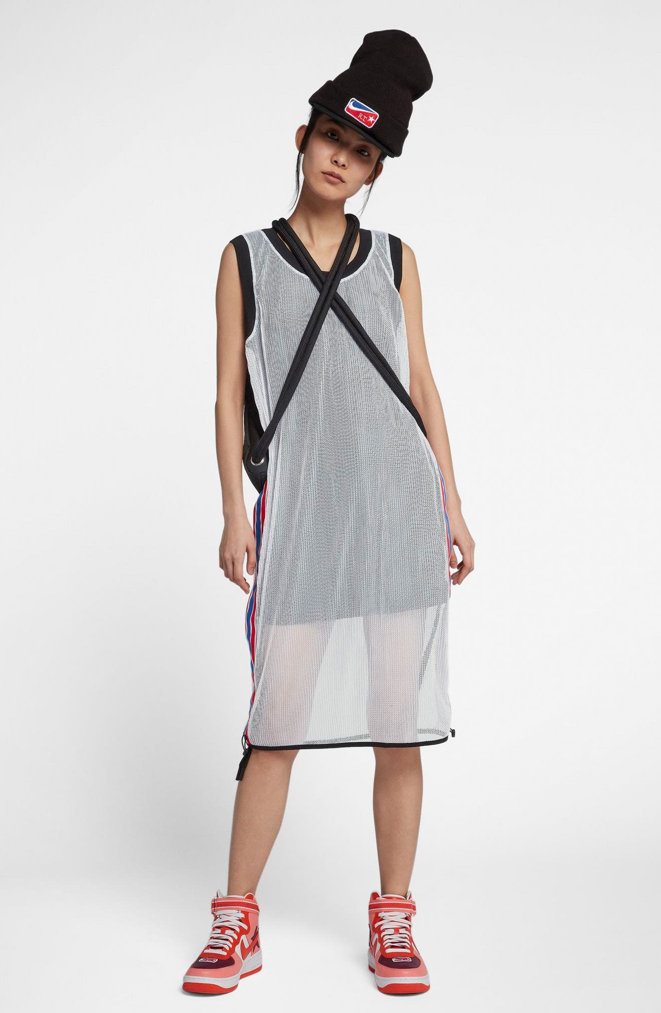 NikeLab x RT Mesh Jersey Dress,                             Alternate thumbnail 6, color,                             White