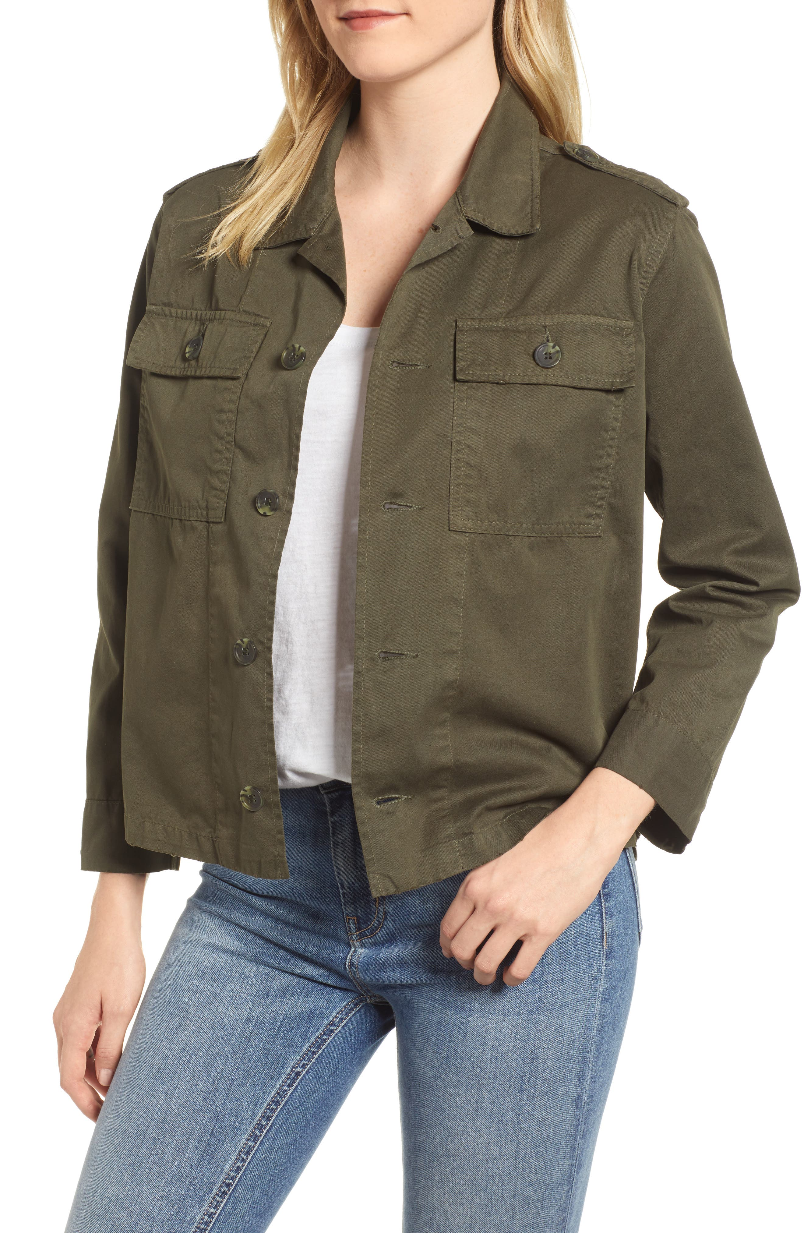 Workwear Cotton Jacket,                         Main,                         color, Army