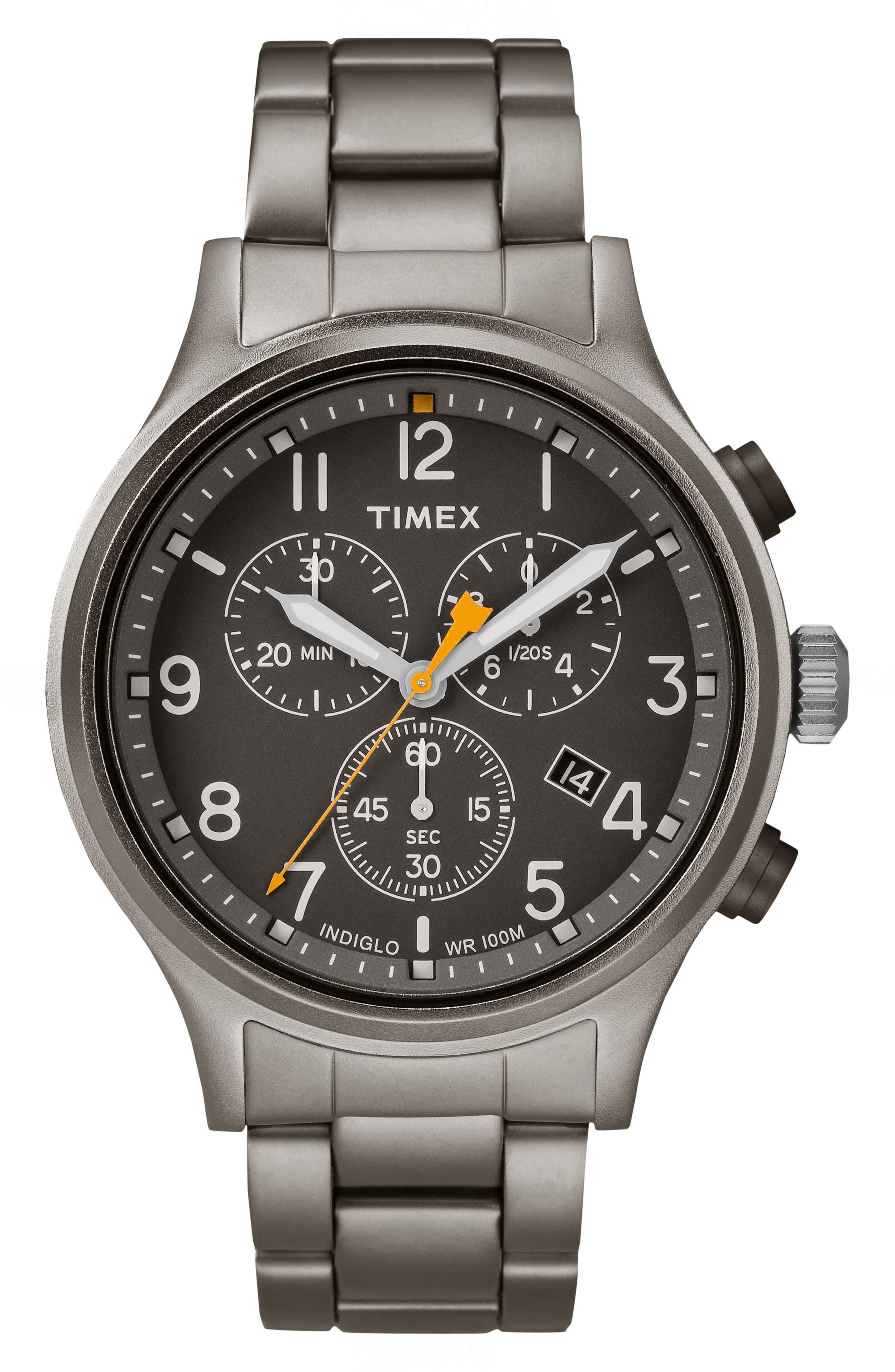 Allied Chronograph Bracelet Watch, 42mm,                         Main,                         color, Grey/ Black/ Grey