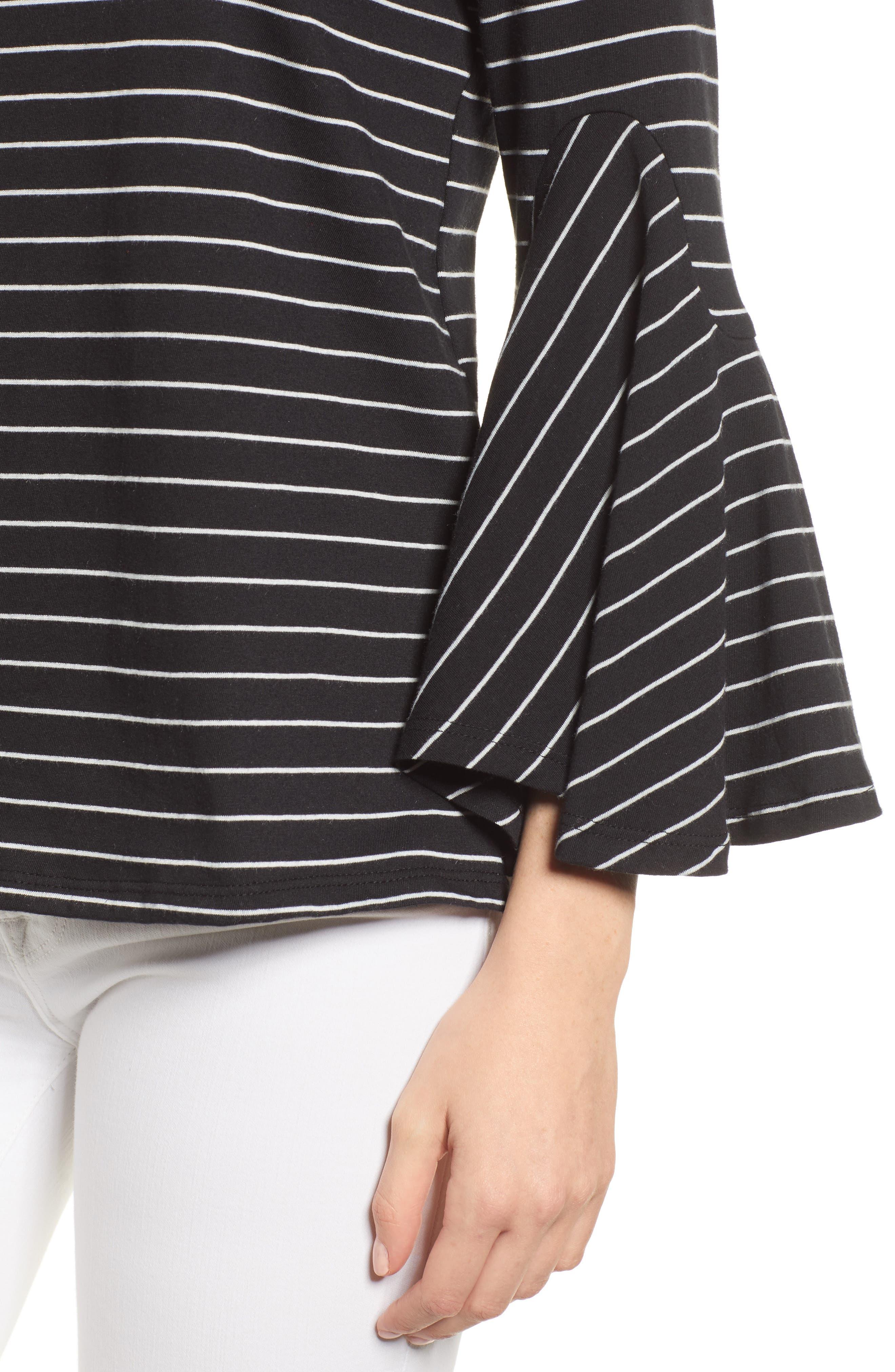 Stripe Bell Sleeve Top,                             Alternate thumbnail 4, color,                             Black/ White Even Stripe