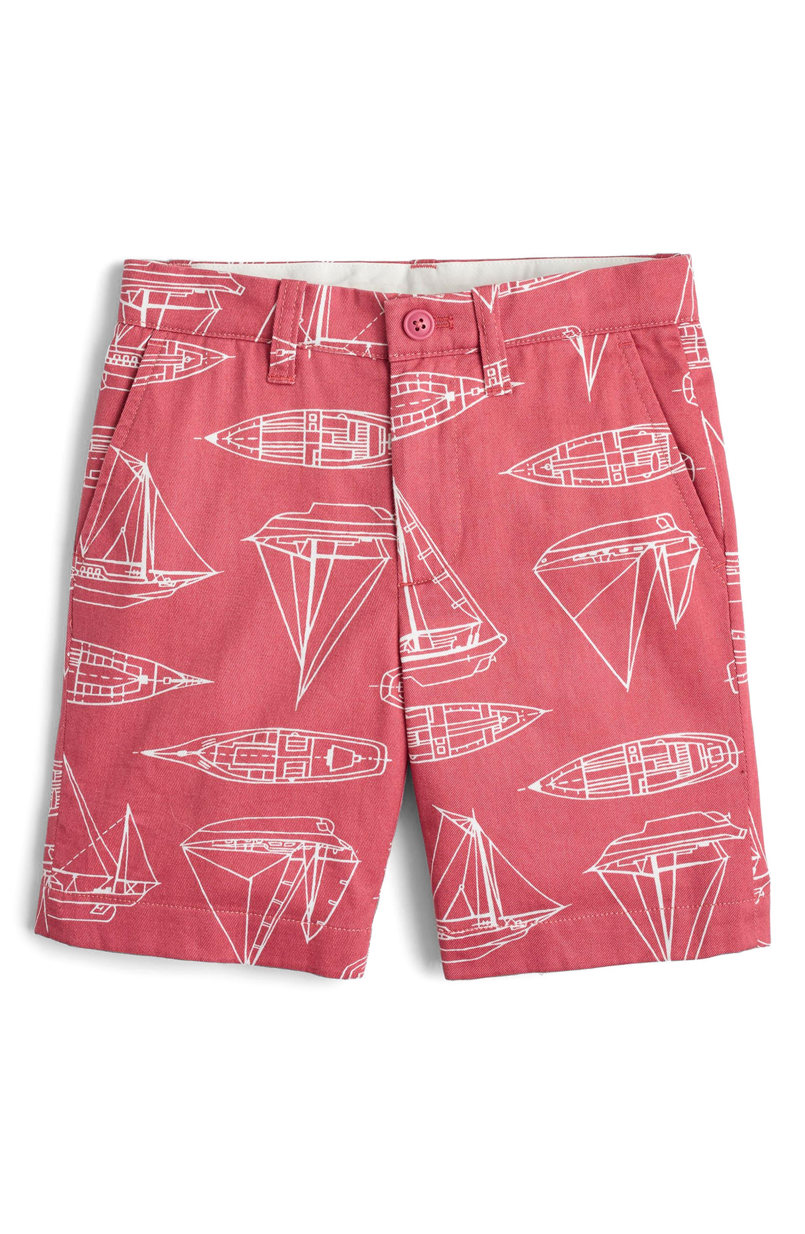 Stanton Boat Print Shorts,                             Main thumbnail 1, color,                             Red Boats