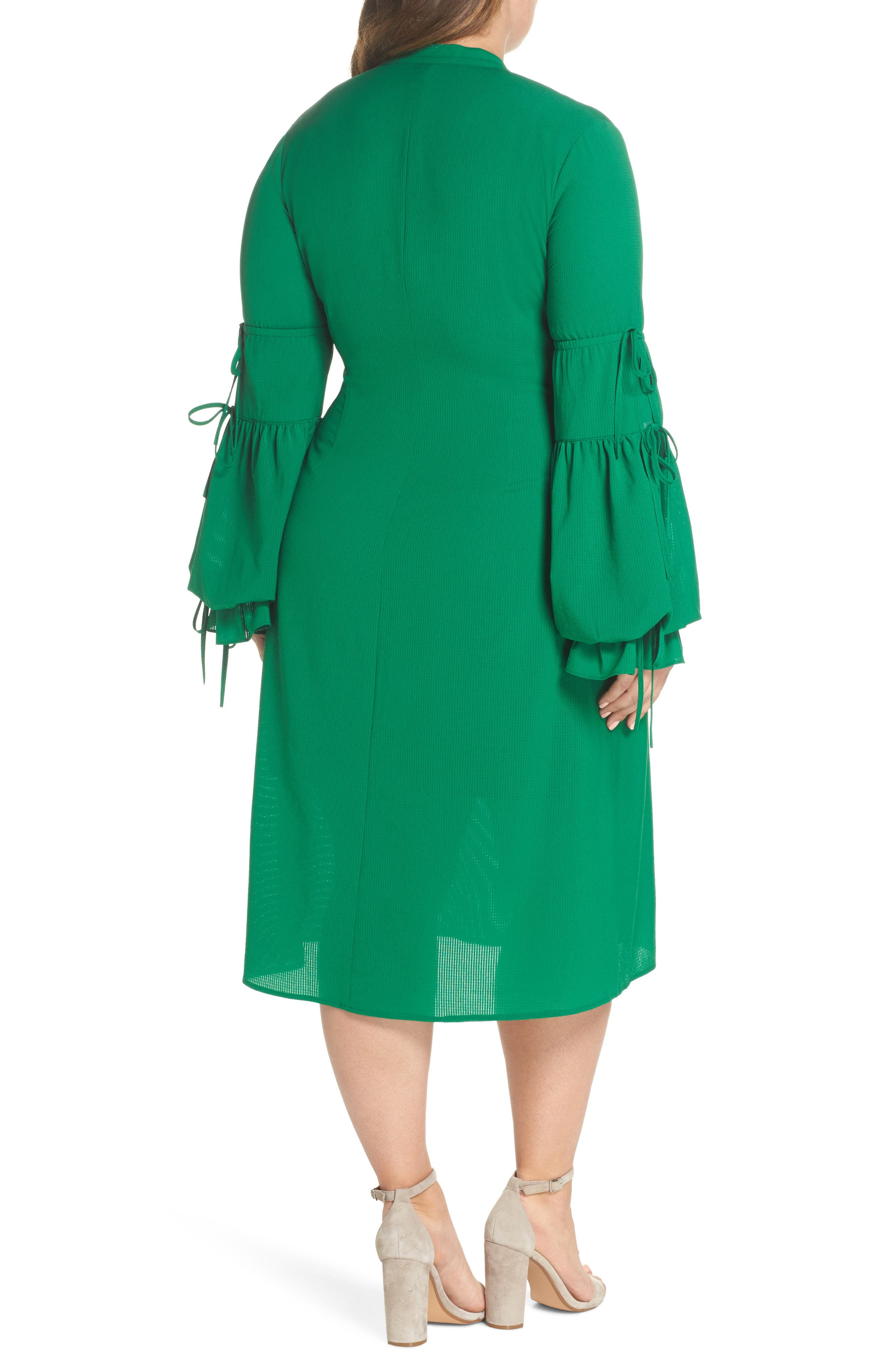 Leiko Antoinette Puff Sleeve Tea Dress,                             Alternate thumbnail 3, color,                             Green