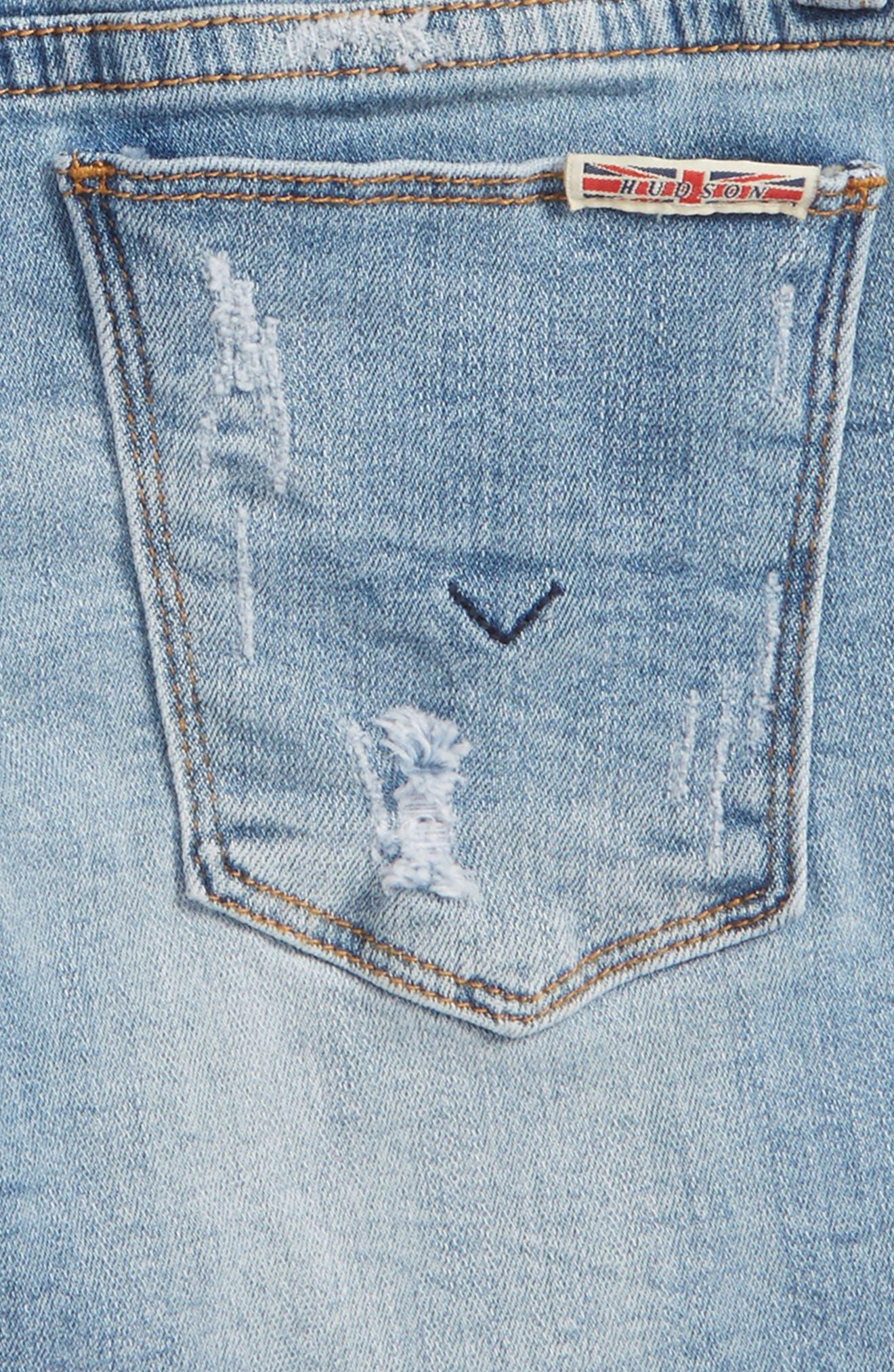 Release Hem Distressed Denim Shorts,                             Alternate thumbnail 3, color,                             Cali Blue