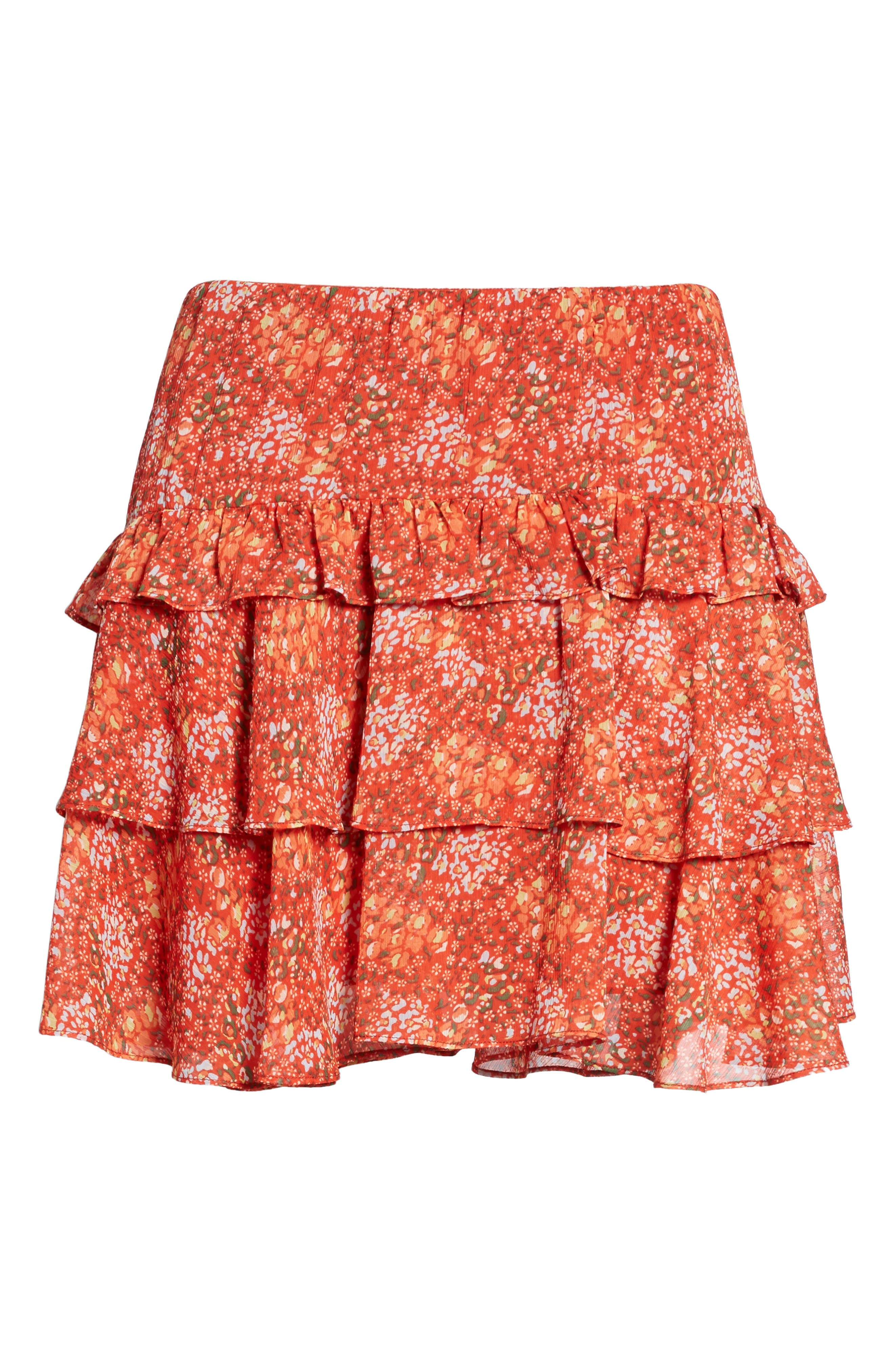 Phoebe Ruffle Tier Skirt,                             Alternate thumbnail 6, color,                             Red Multi