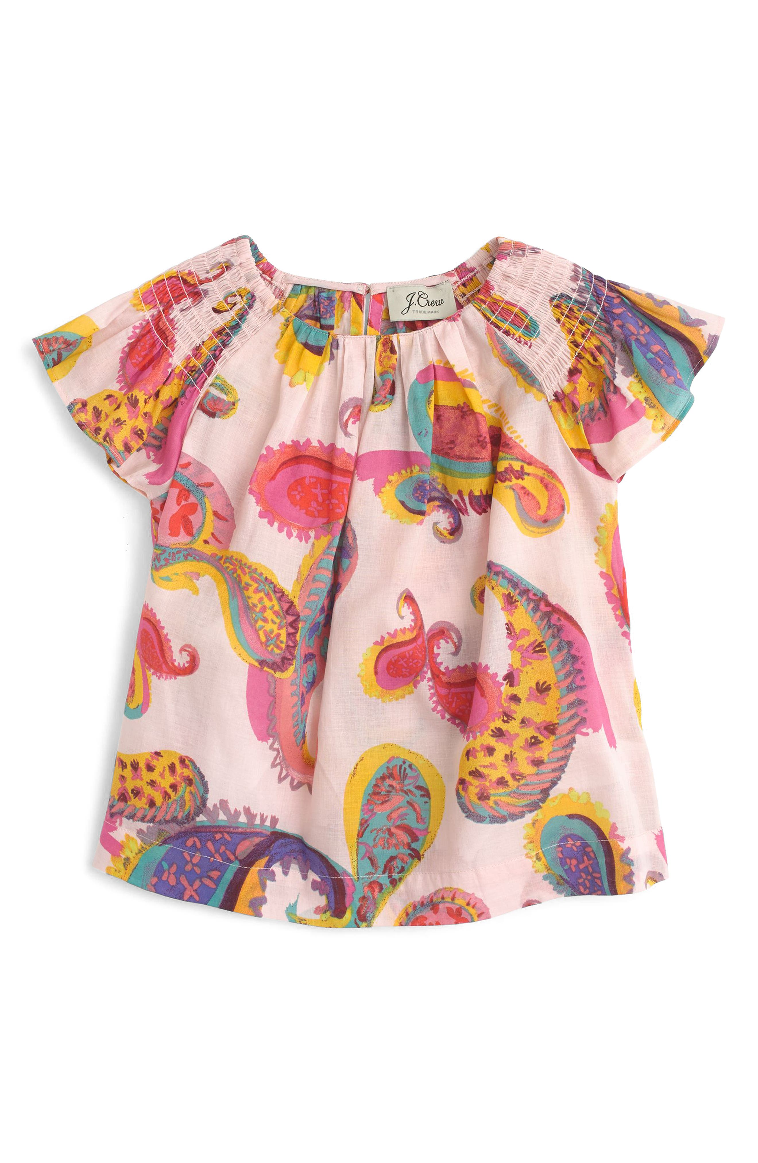 Paisley Smocked Shoulder Top,                         Main,                         color, Peppermint Multi