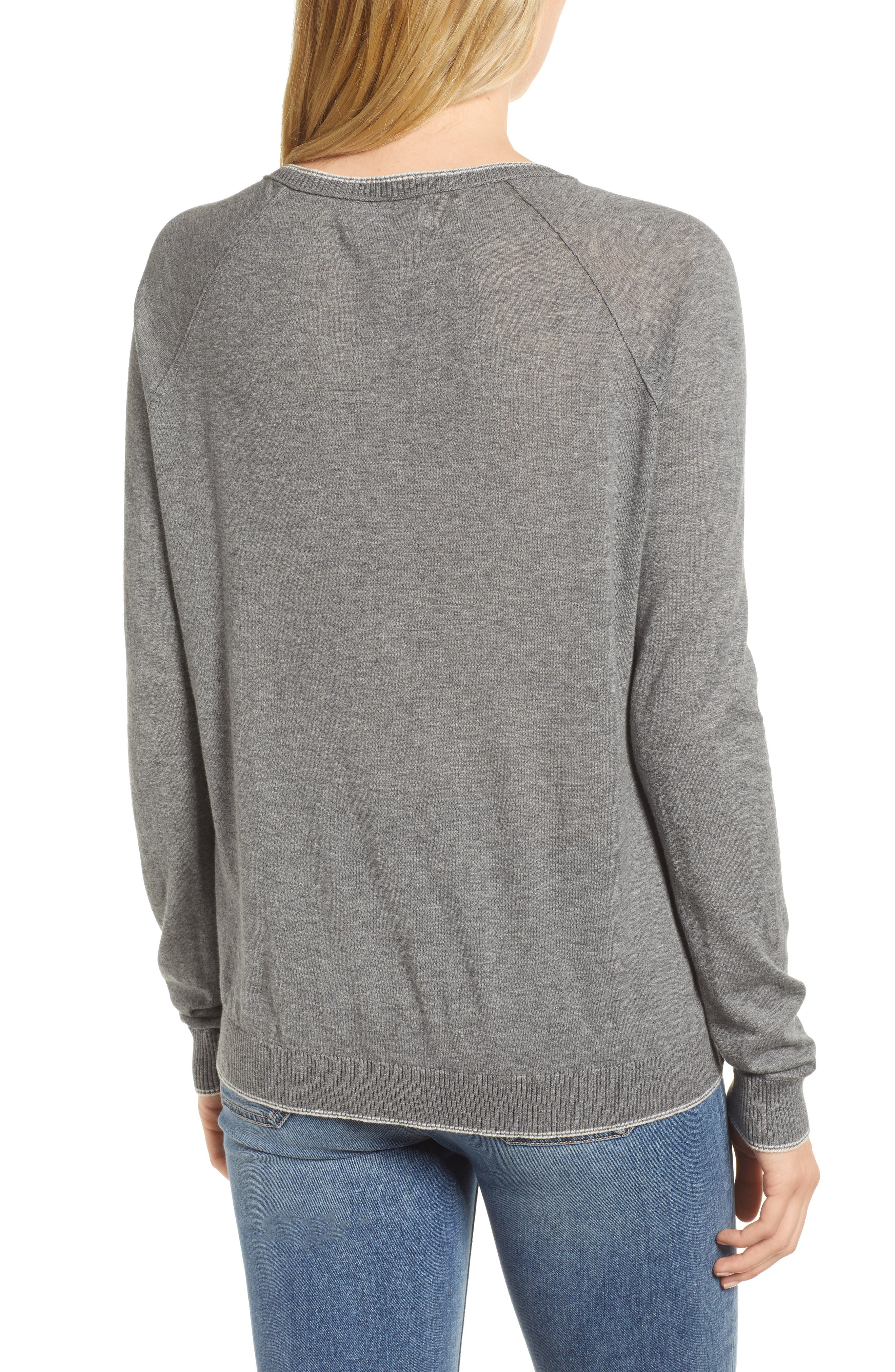Lux Cotton Sweater,                             Alternate thumbnail 2, color,                             Heather Grey
