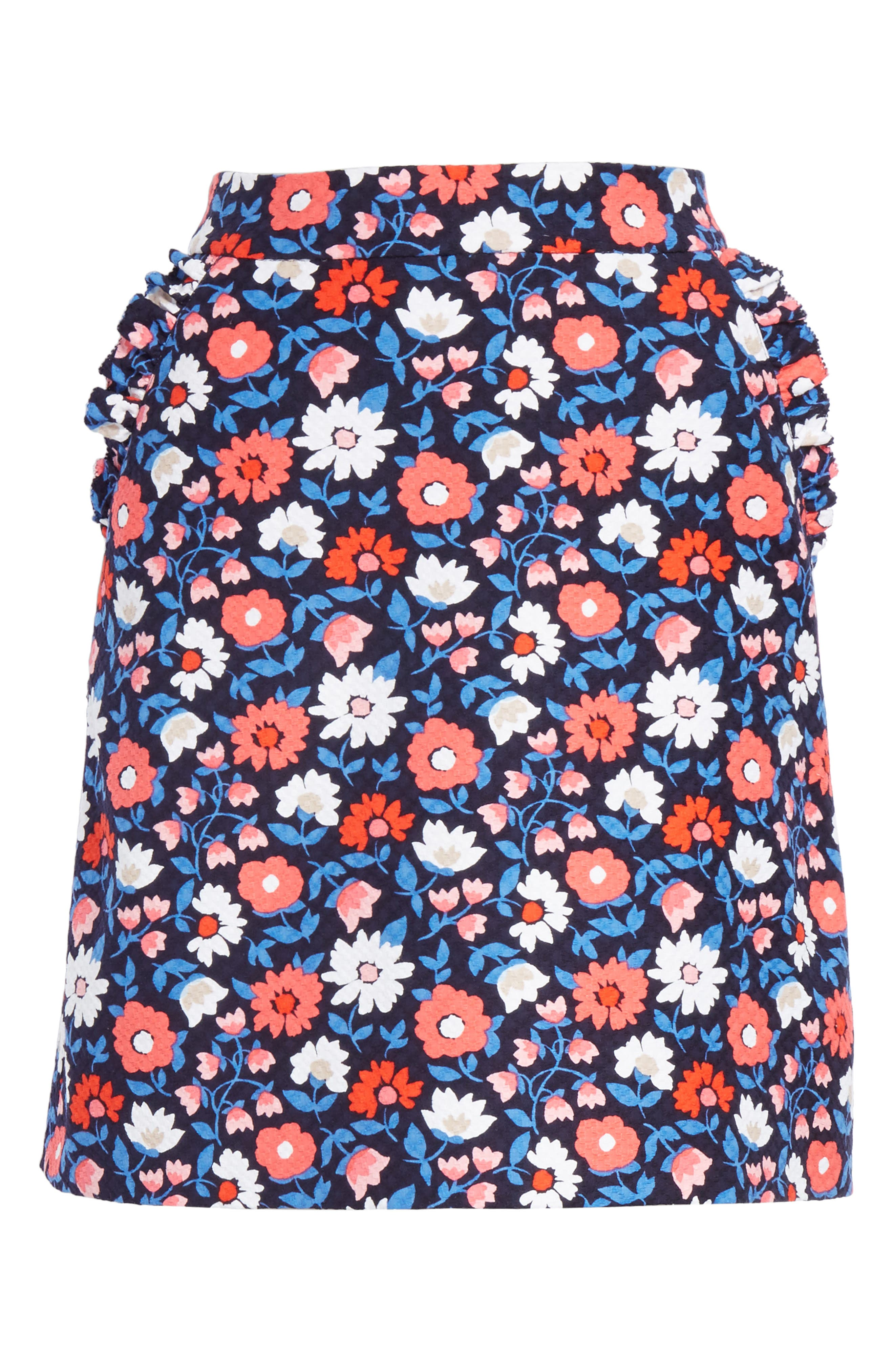 daisy jacquard A-line skirt,                             Alternate thumbnail 6, color,                             Rich Navy