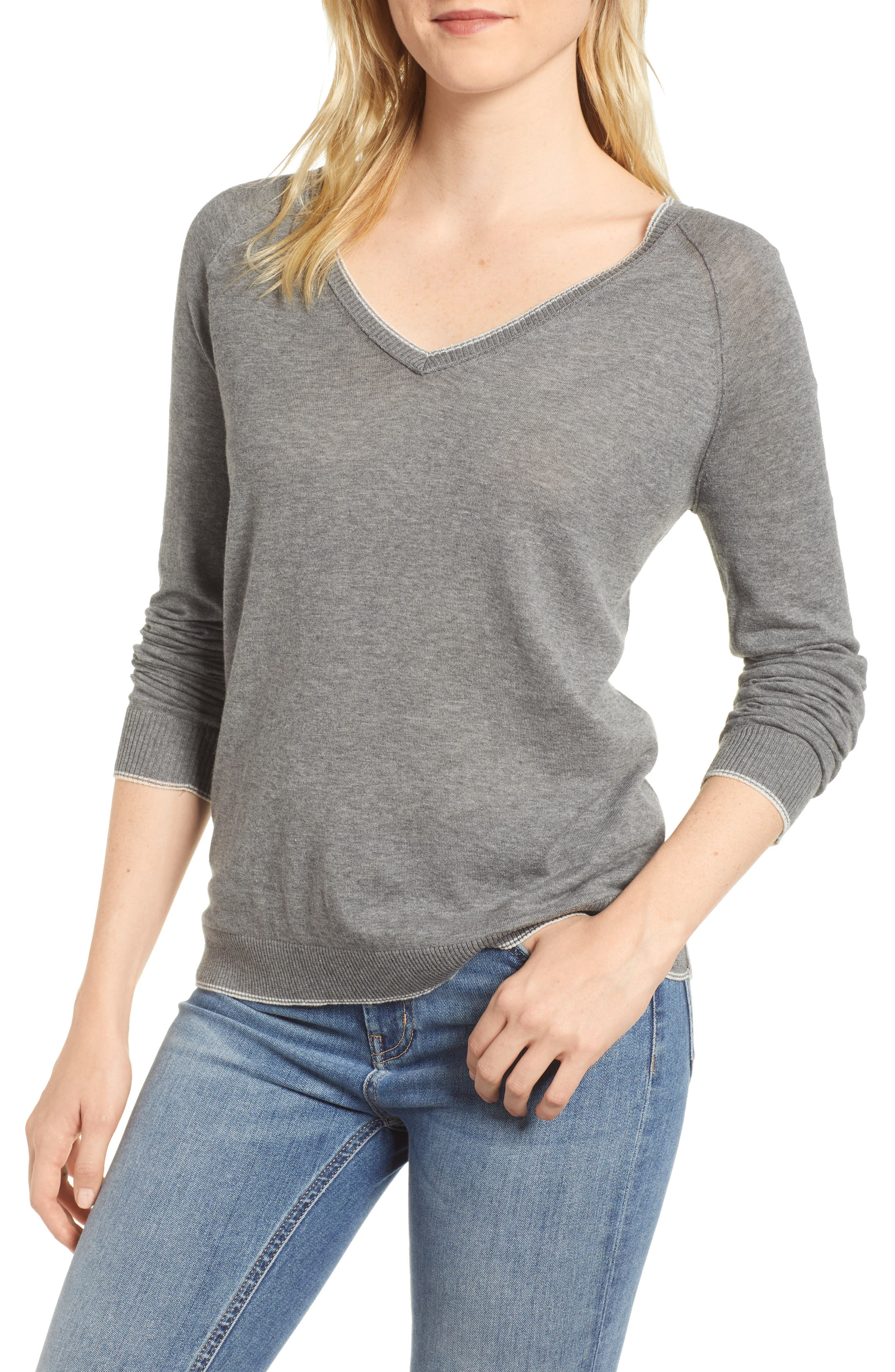 Lux Cotton Sweater,                             Main thumbnail 1, color,                             Heather Grey