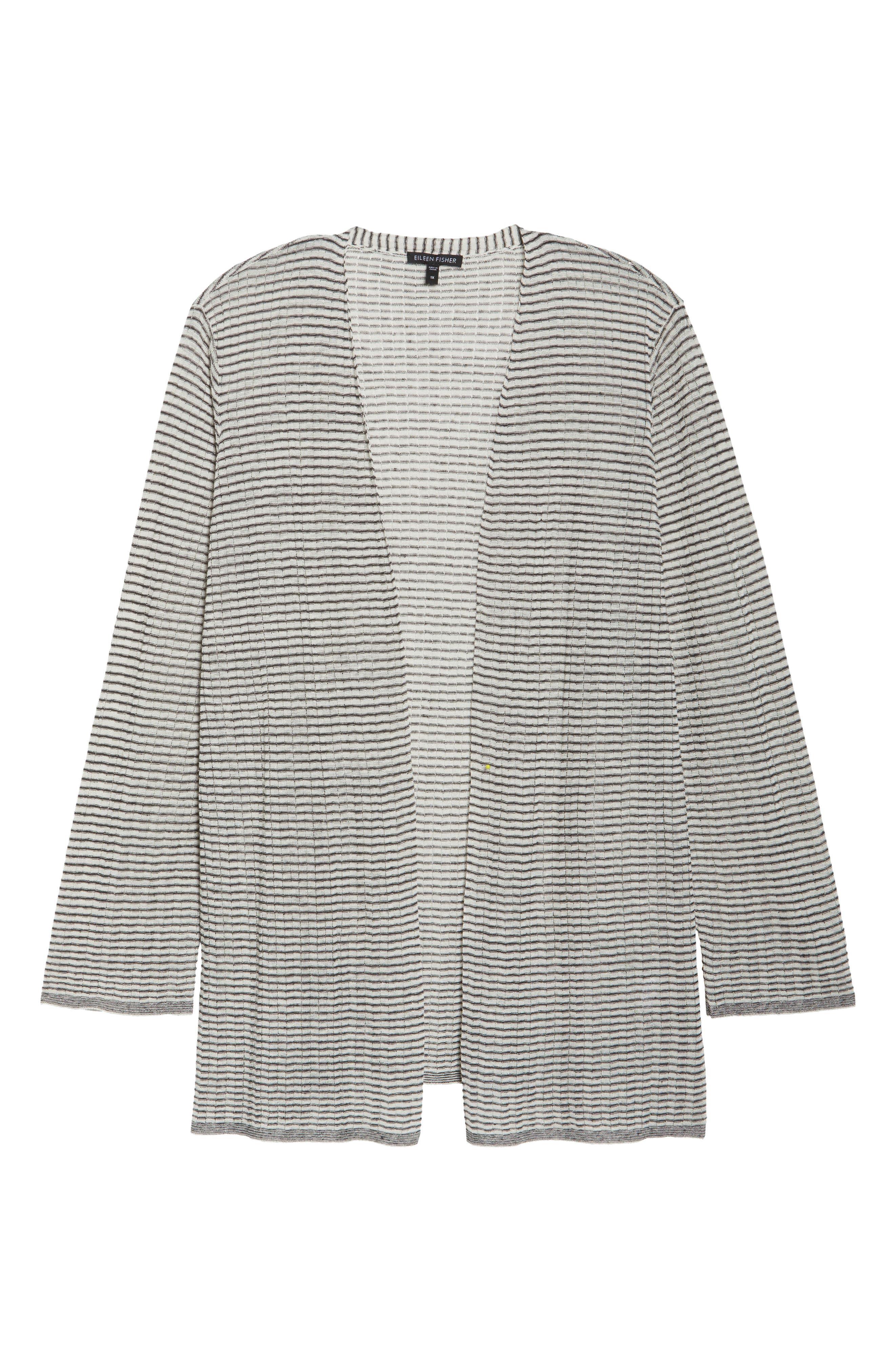 Simple Stripe Linen Blend Cardigan,                             Alternate thumbnail 6, color,                             Graphite/ Bone