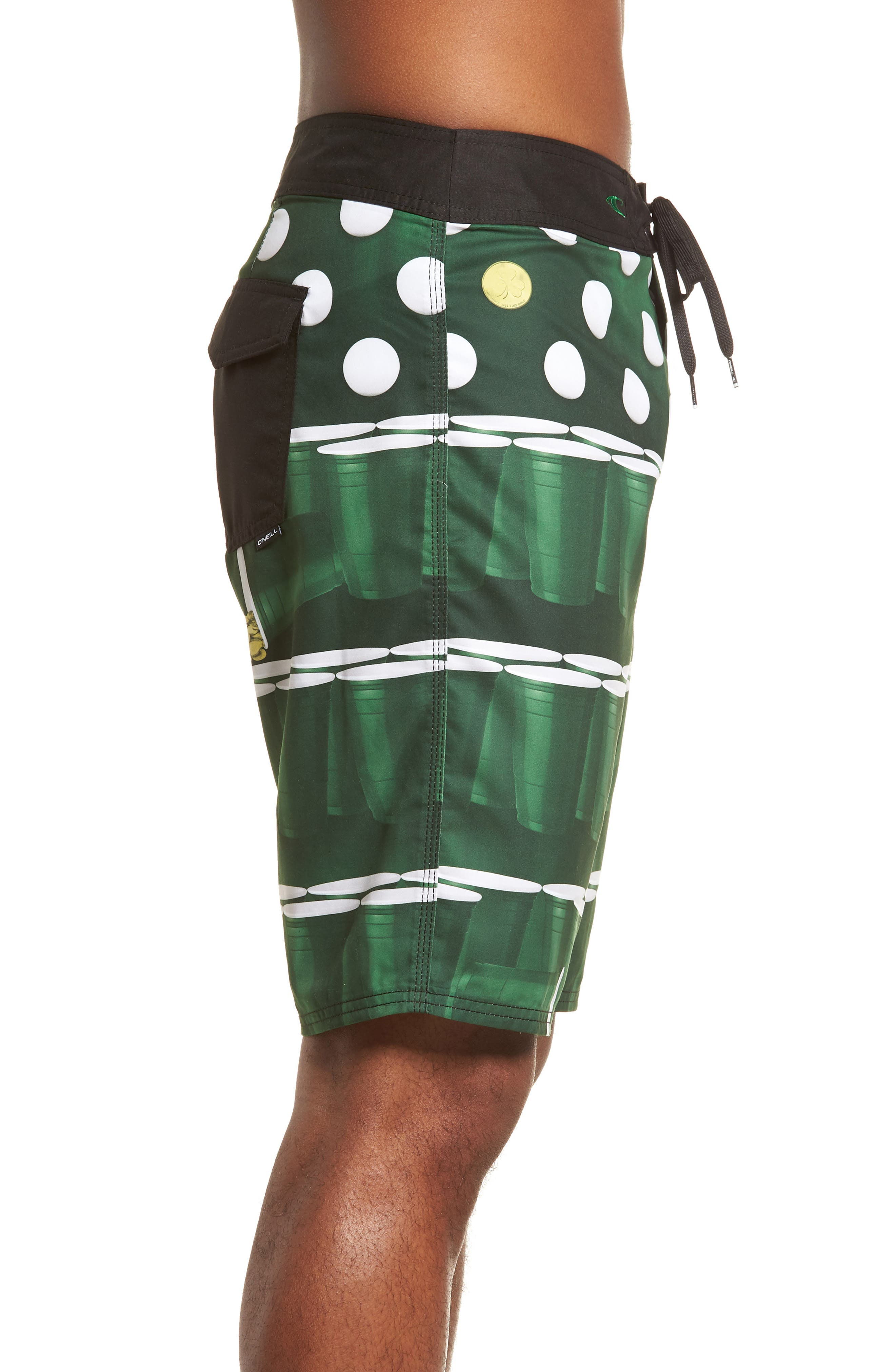 St. Paddy's Pong Board Shorts,                             Alternate thumbnail 3, color,                             Green