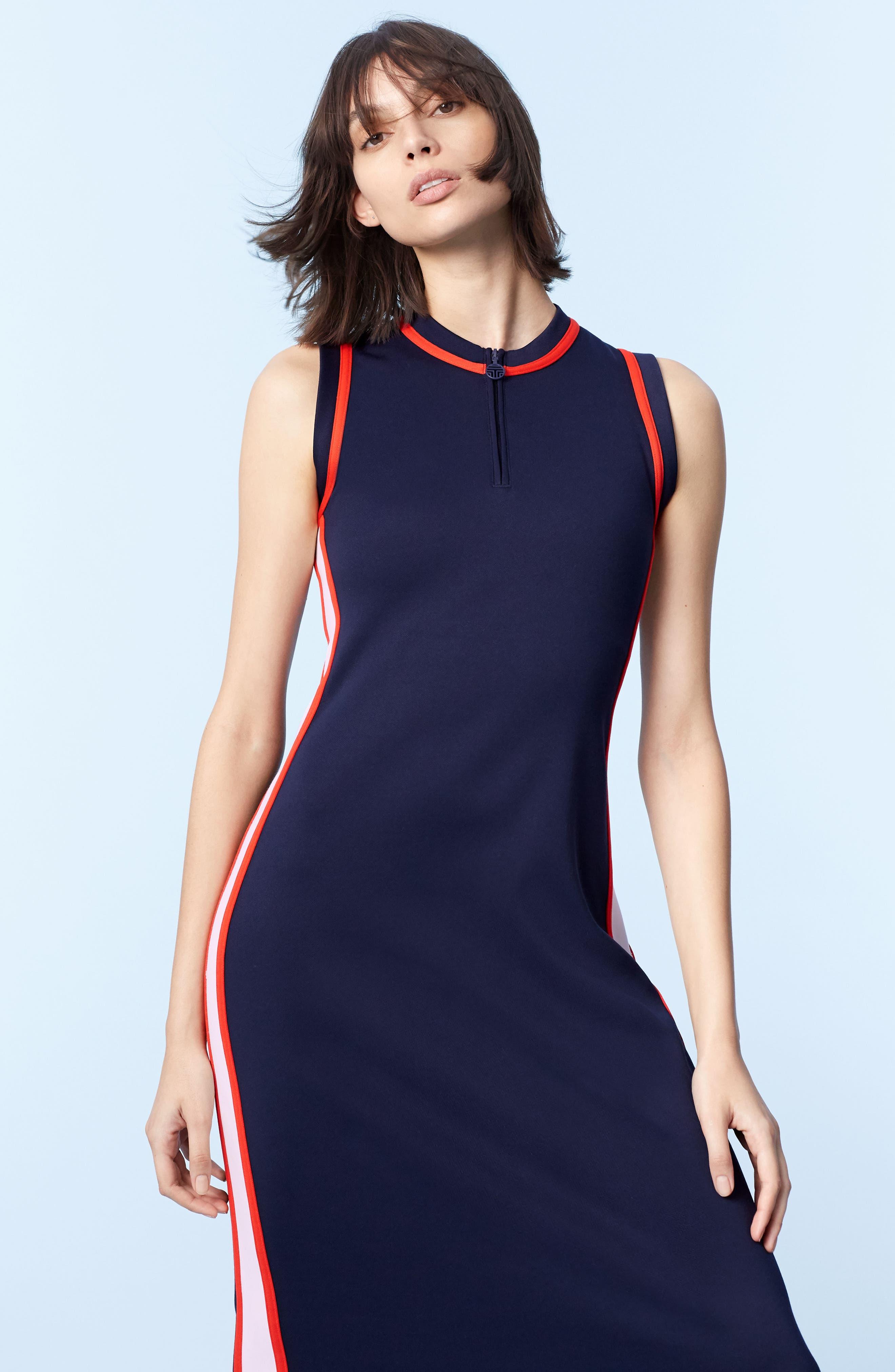 Sleeveless Track Dress,                             Alternate thumbnail 2, color,                             Tory Navy