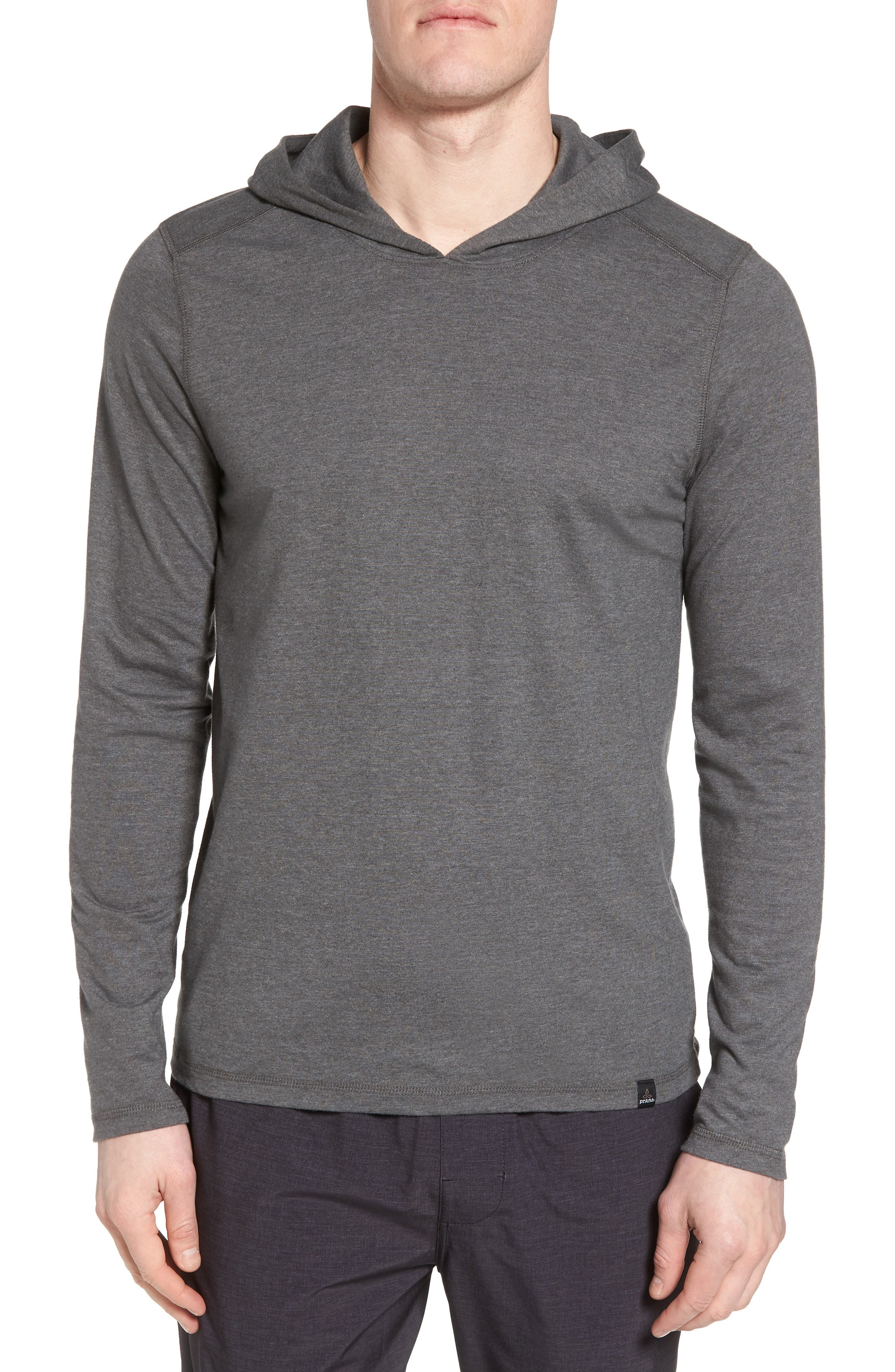 PRANA Cotton Blend Hoodie in Charcoal