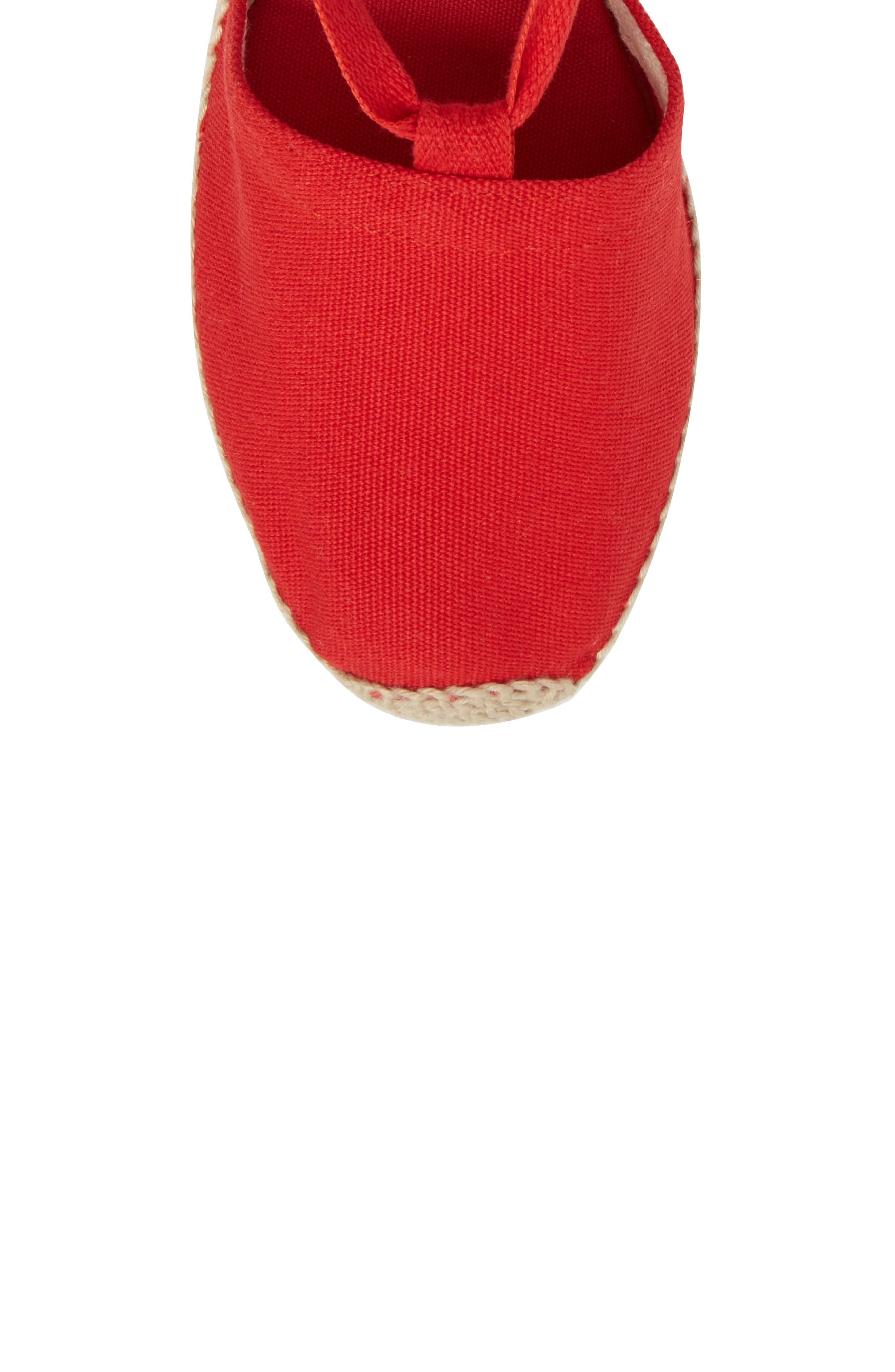 Valencia Wraparound Espadrille Wedge,                             Alternate thumbnail 5, color,                             Red Fabric