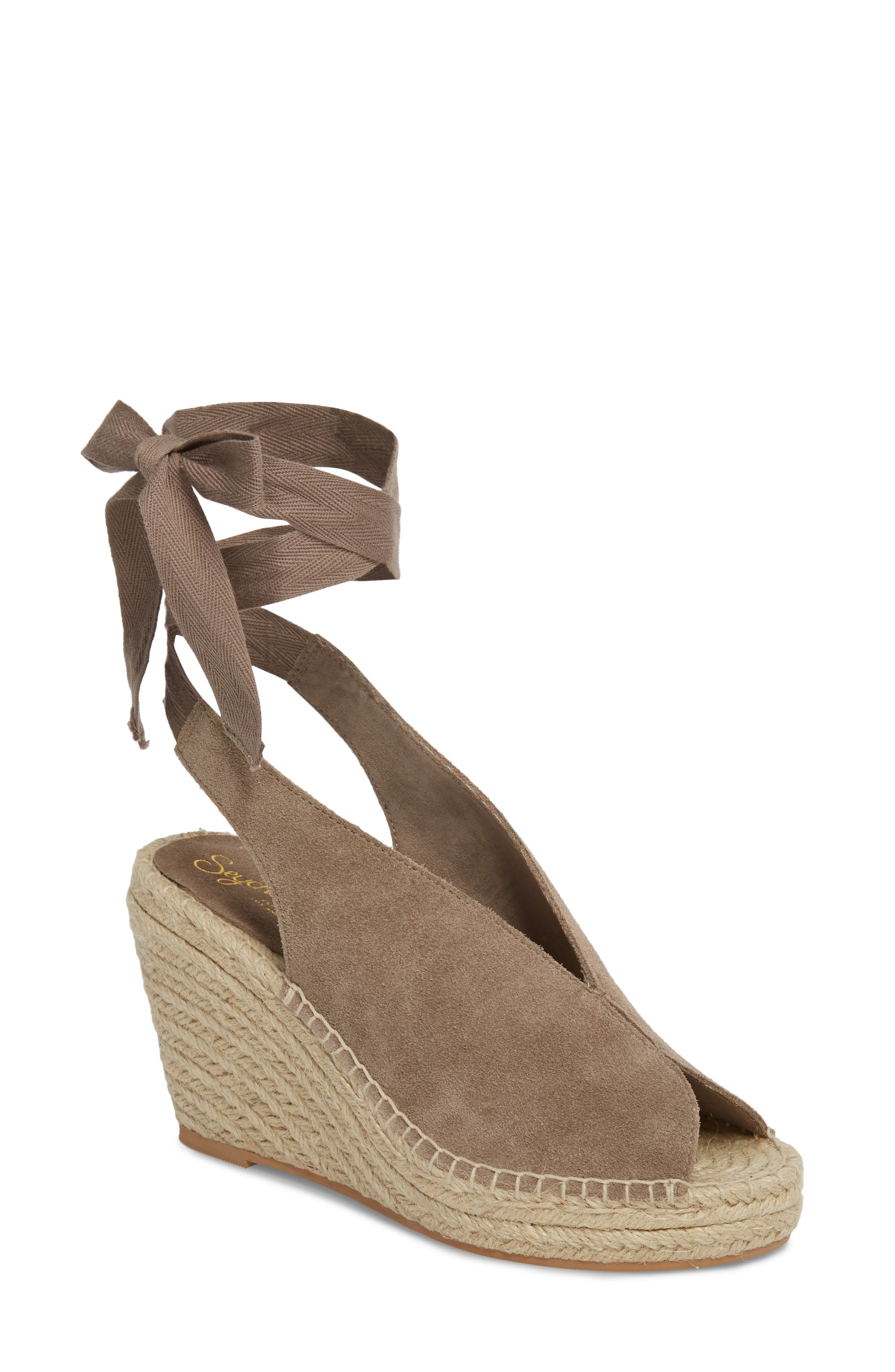 Interrelated Espadrille Wedge Sandal,                             Main thumbnail 1, color,                             Taupe Suede
