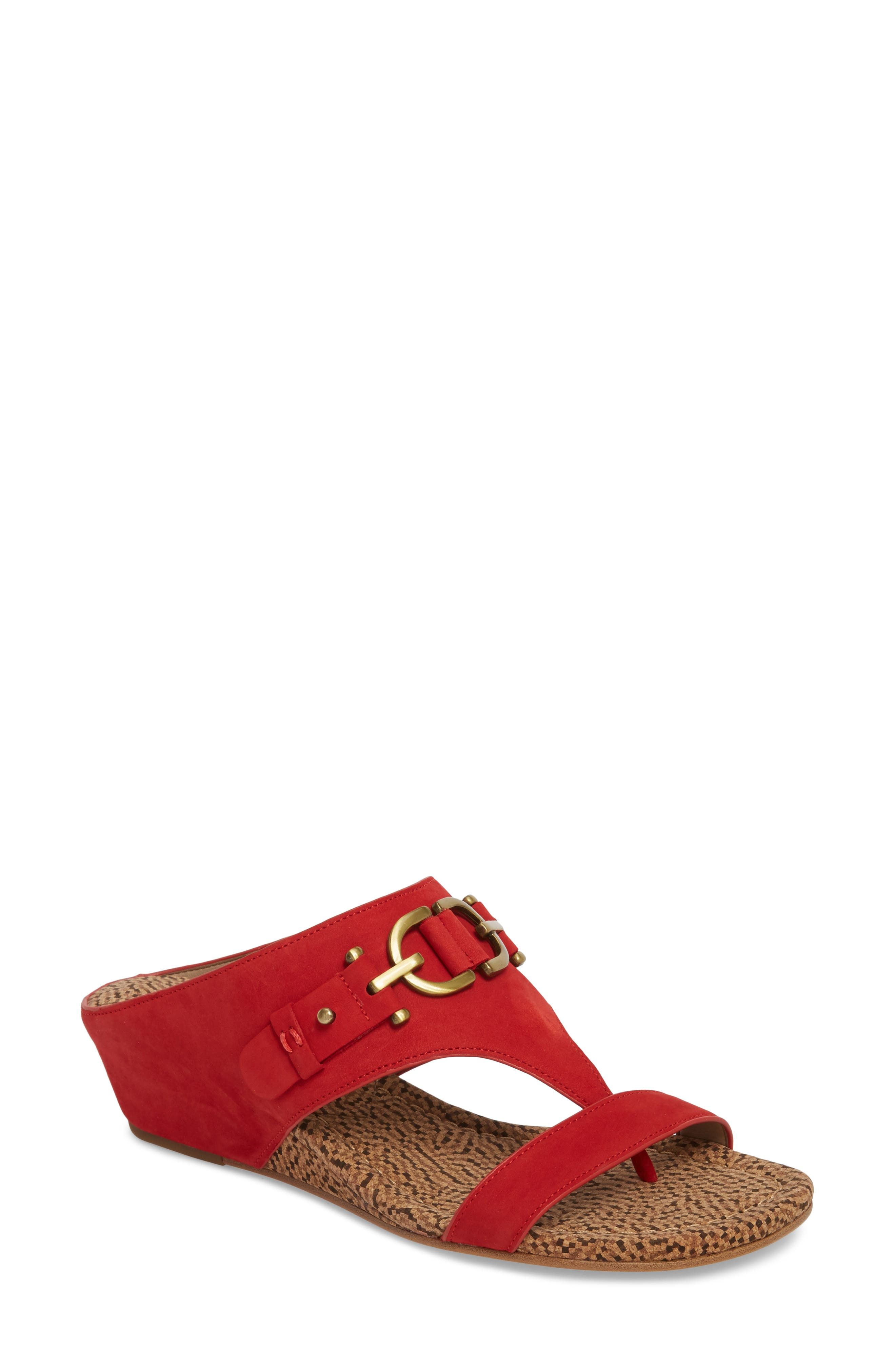 Dayna Wedge Sandal,                         Main,                         color, Poppy Leather