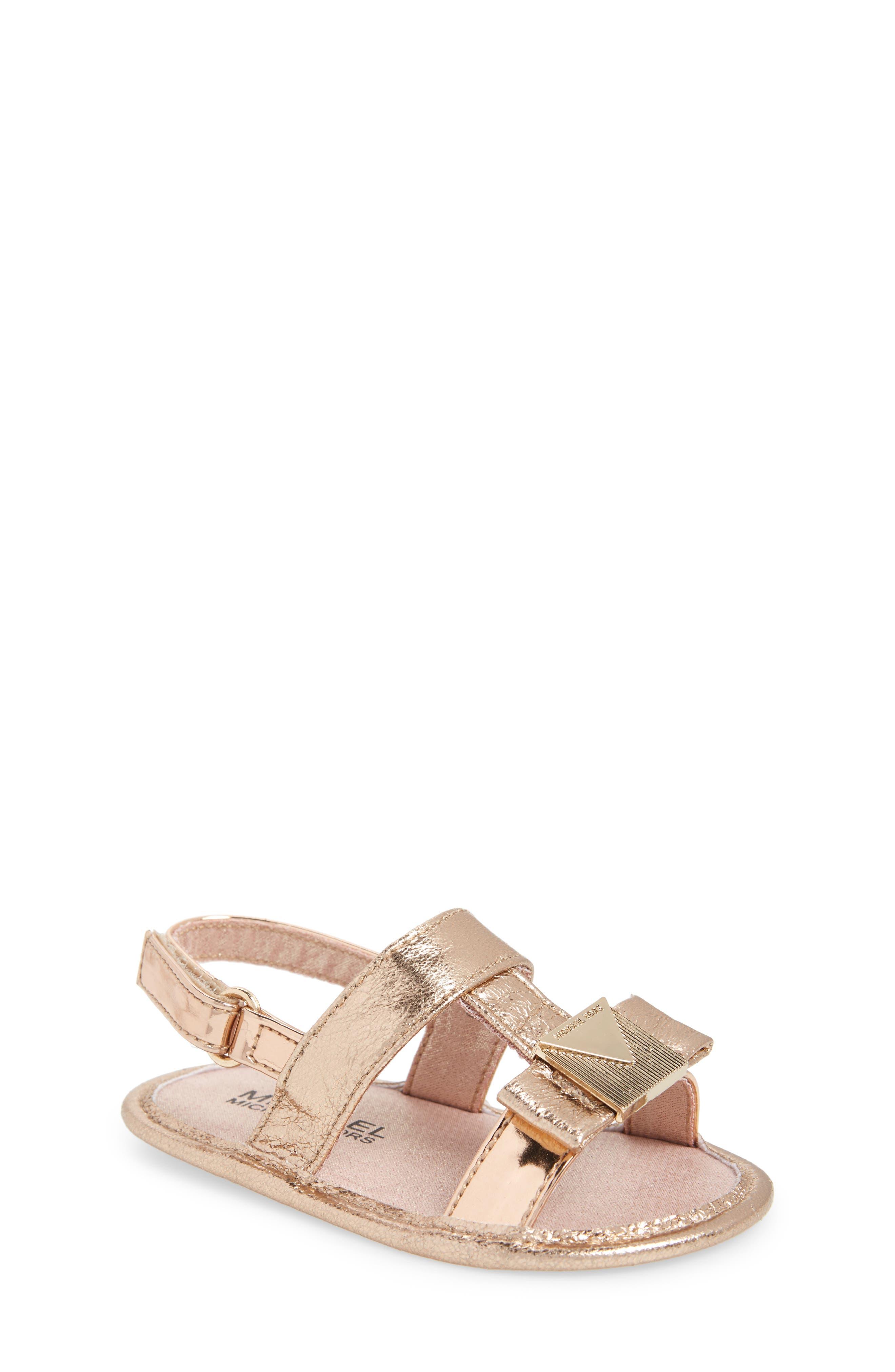 Baby Sugar Metallic Sandal,                         Main,                         color, Rose Gold