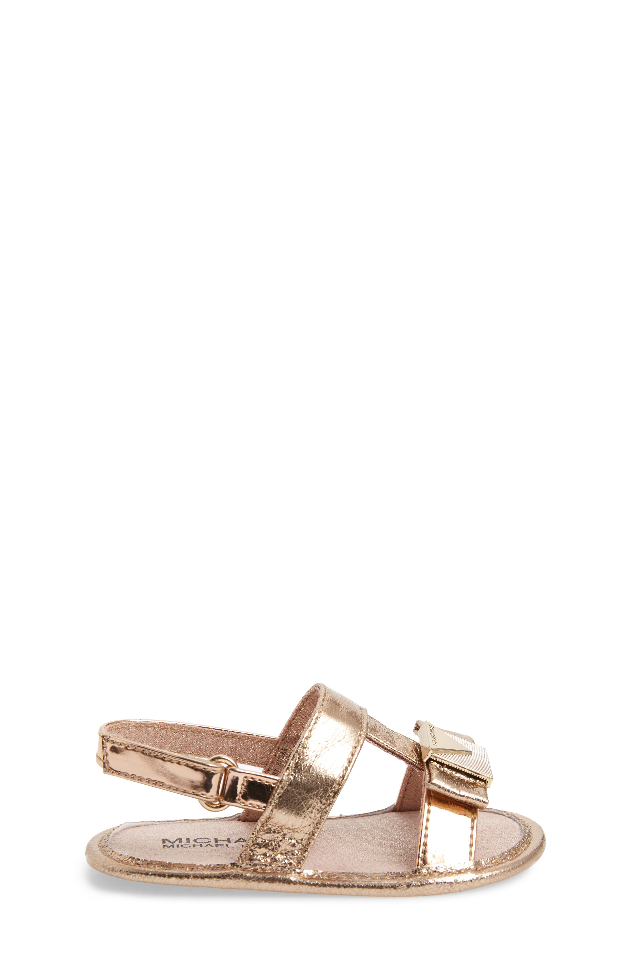 Baby Sugar Metallic Sandal,                             Alternate thumbnail 3, color,                             Rose Gold