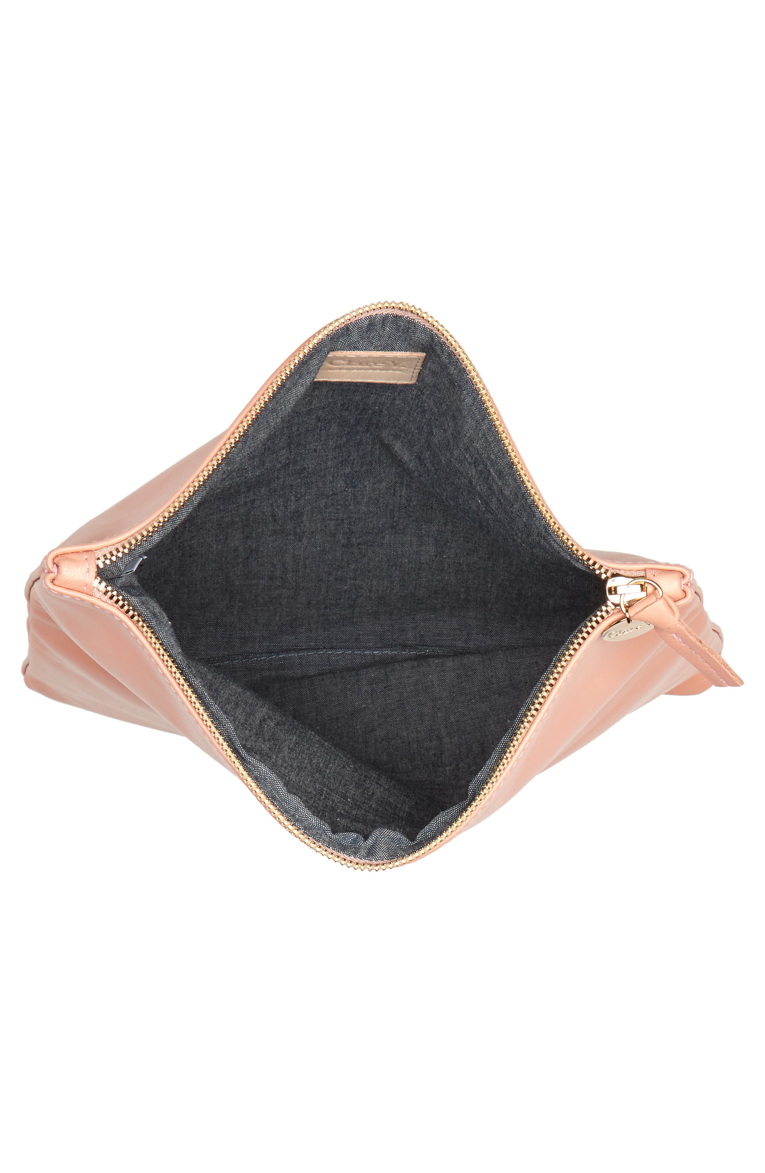 Leather Foldover Clutch,                             Alternate thumbnail 3, color,                             Blush Golfa