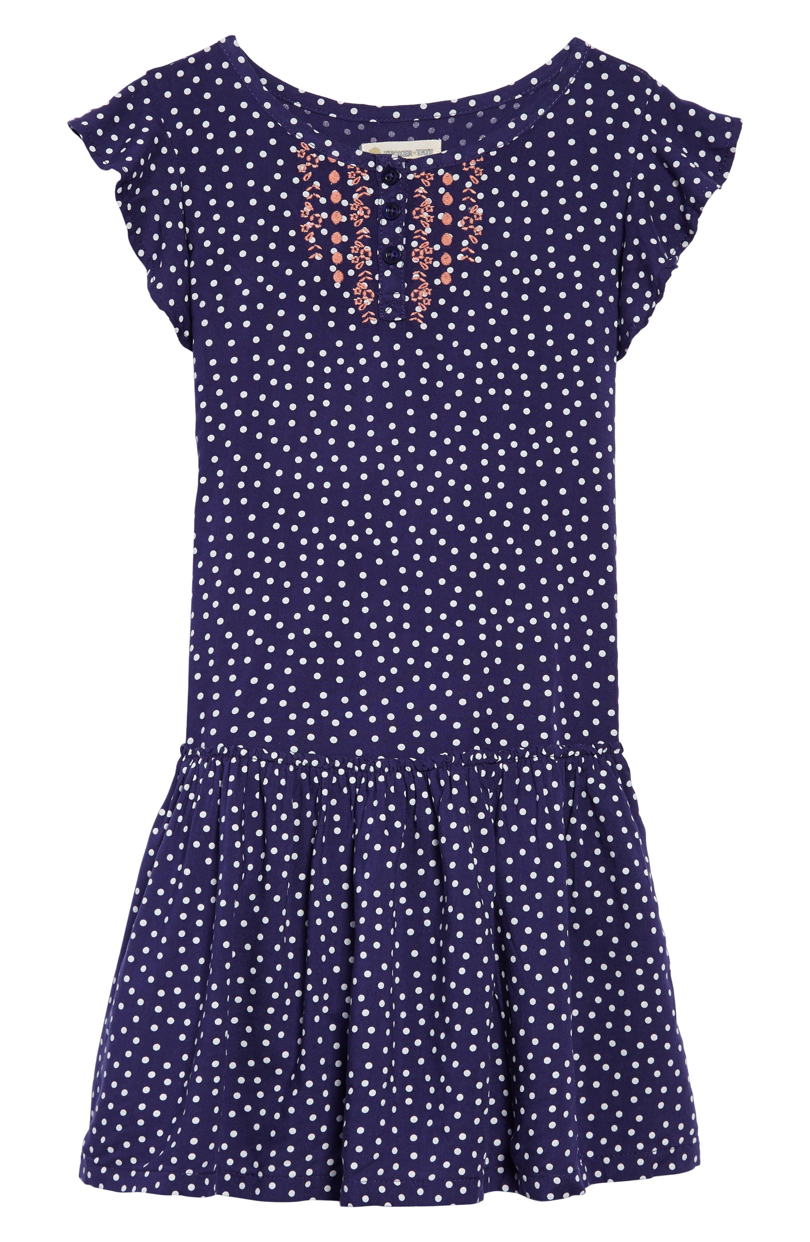Print Flutter Sleeve Dress,                         Main,                         color, Navy Ribbon Dot