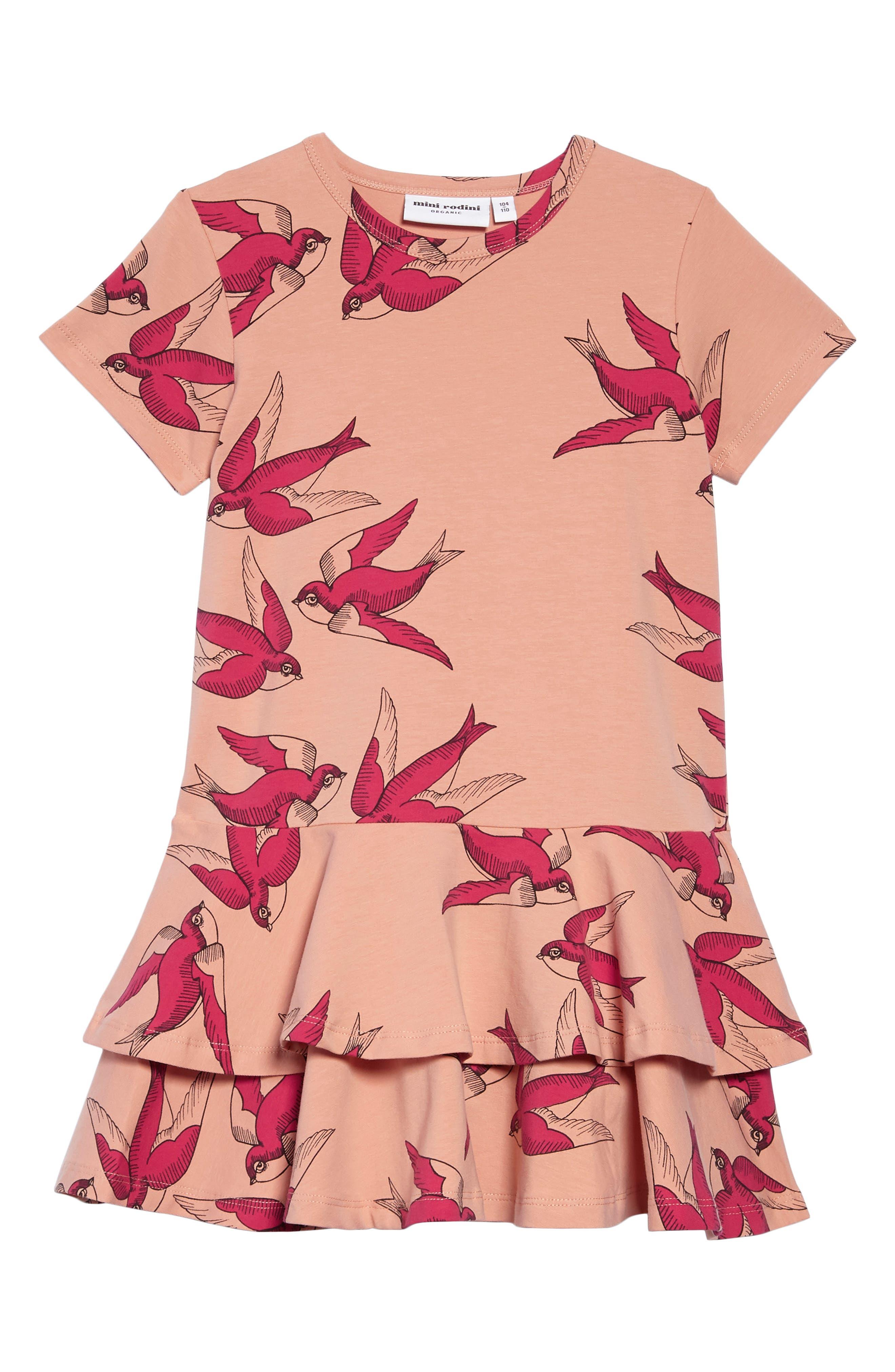 Main Image - Mini Rodini Swallows Frill Dress (Toddler Girls & Little Girls)