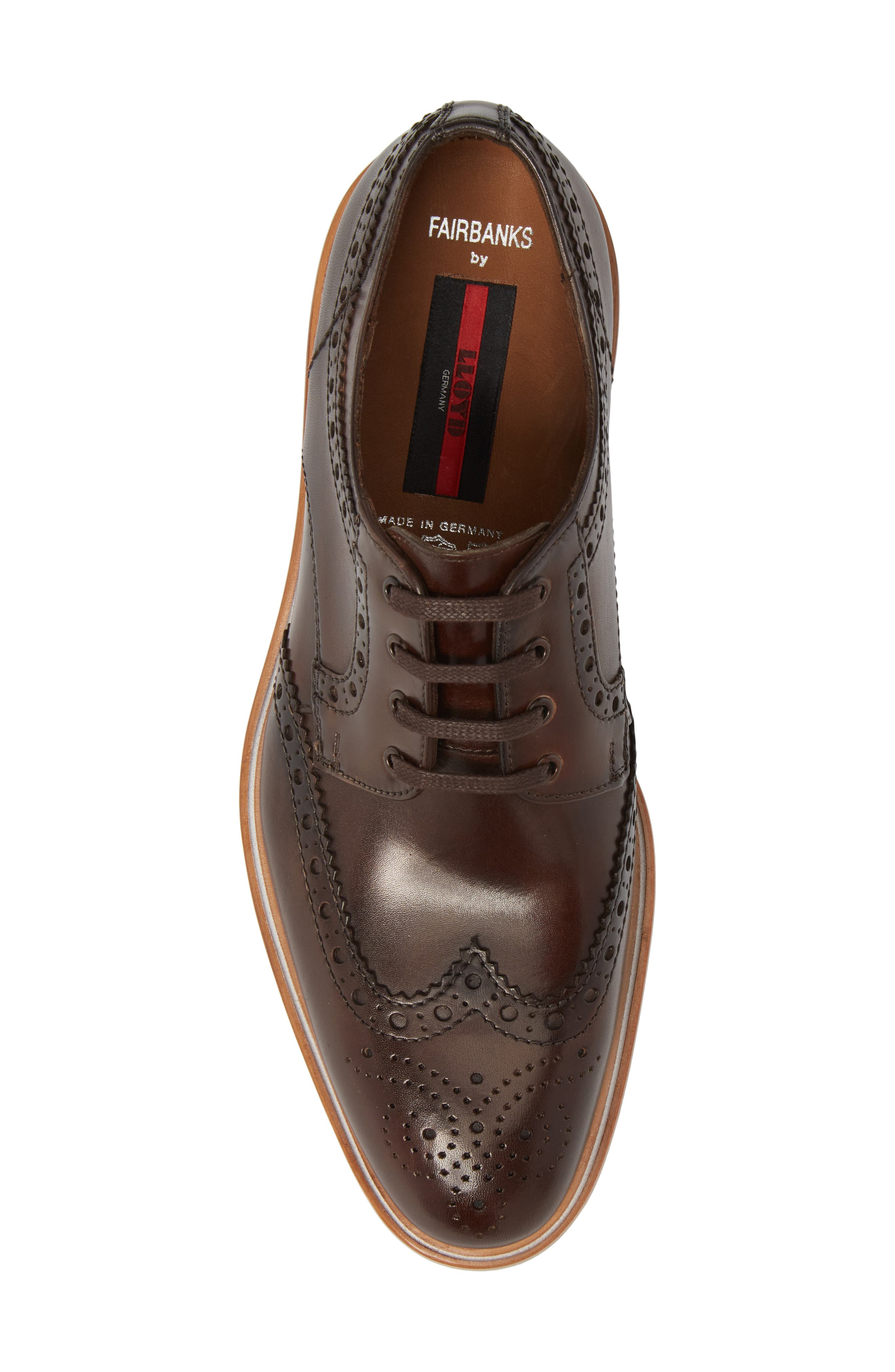 Fairbanks Wingtip,                             Alternate thumbnail 5, color,                             Brown Leather