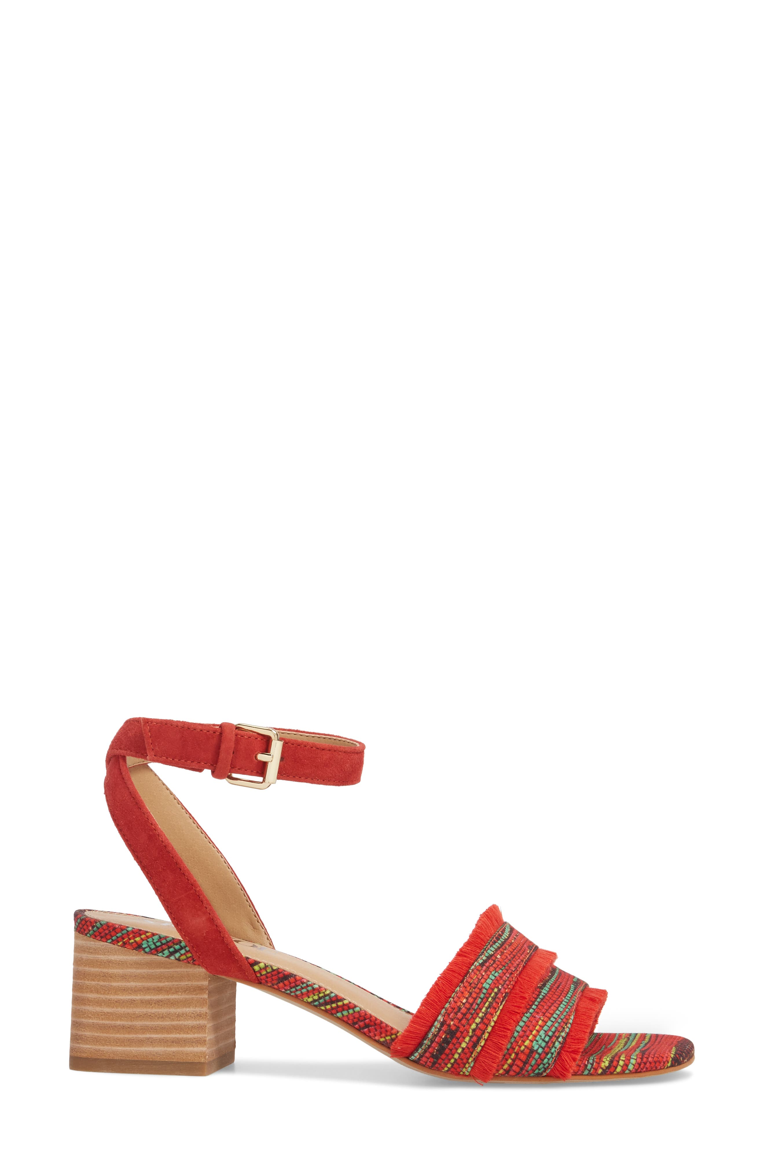 Zaria Fringed Sandal,                             Alternate thumbnail 3, color,                             Red Multi Fabric