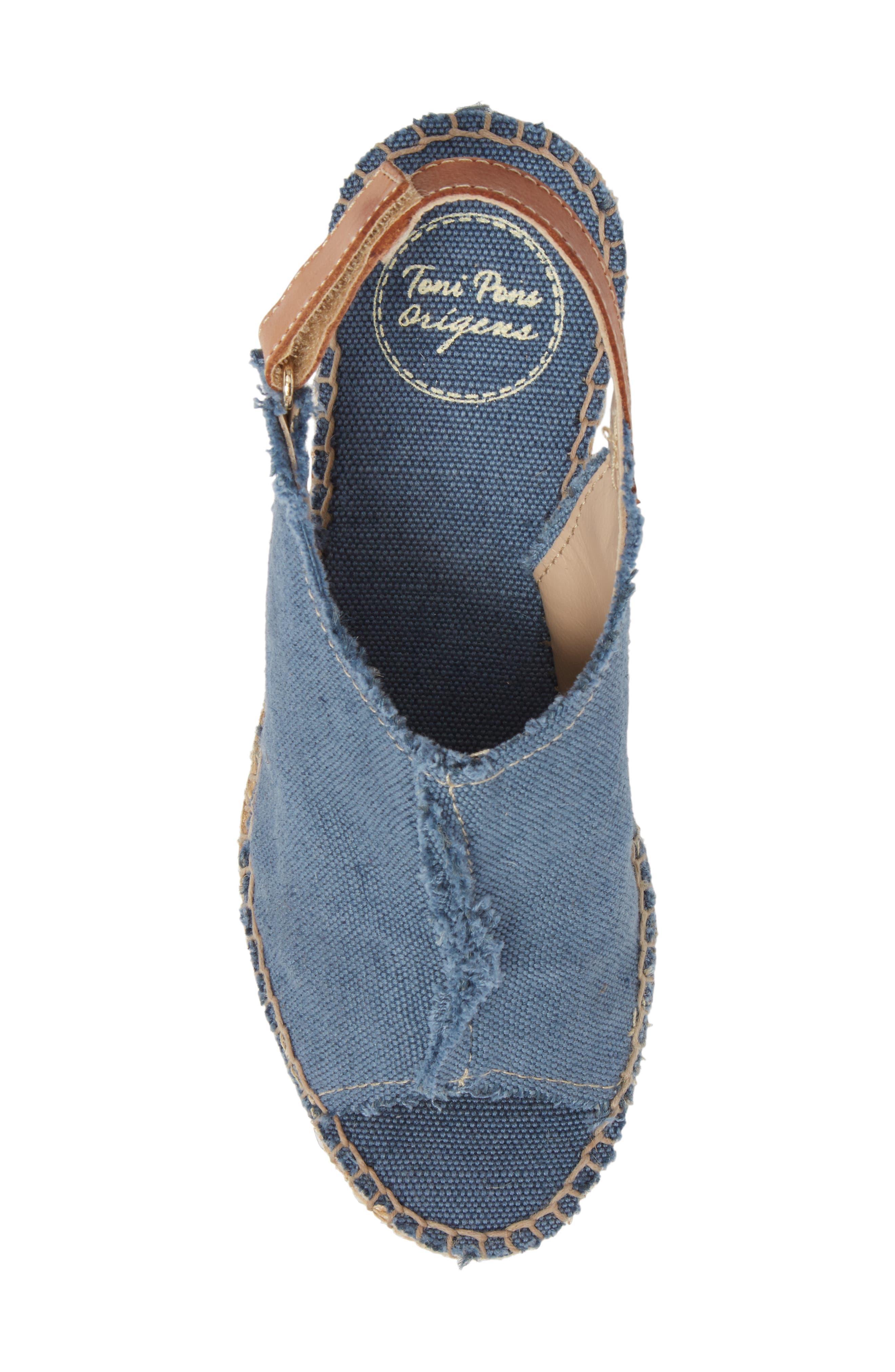 'Lugano' Espadrille Wedge Sandal,                             Alternate thumbnail 5, color,                             Blue Fabric