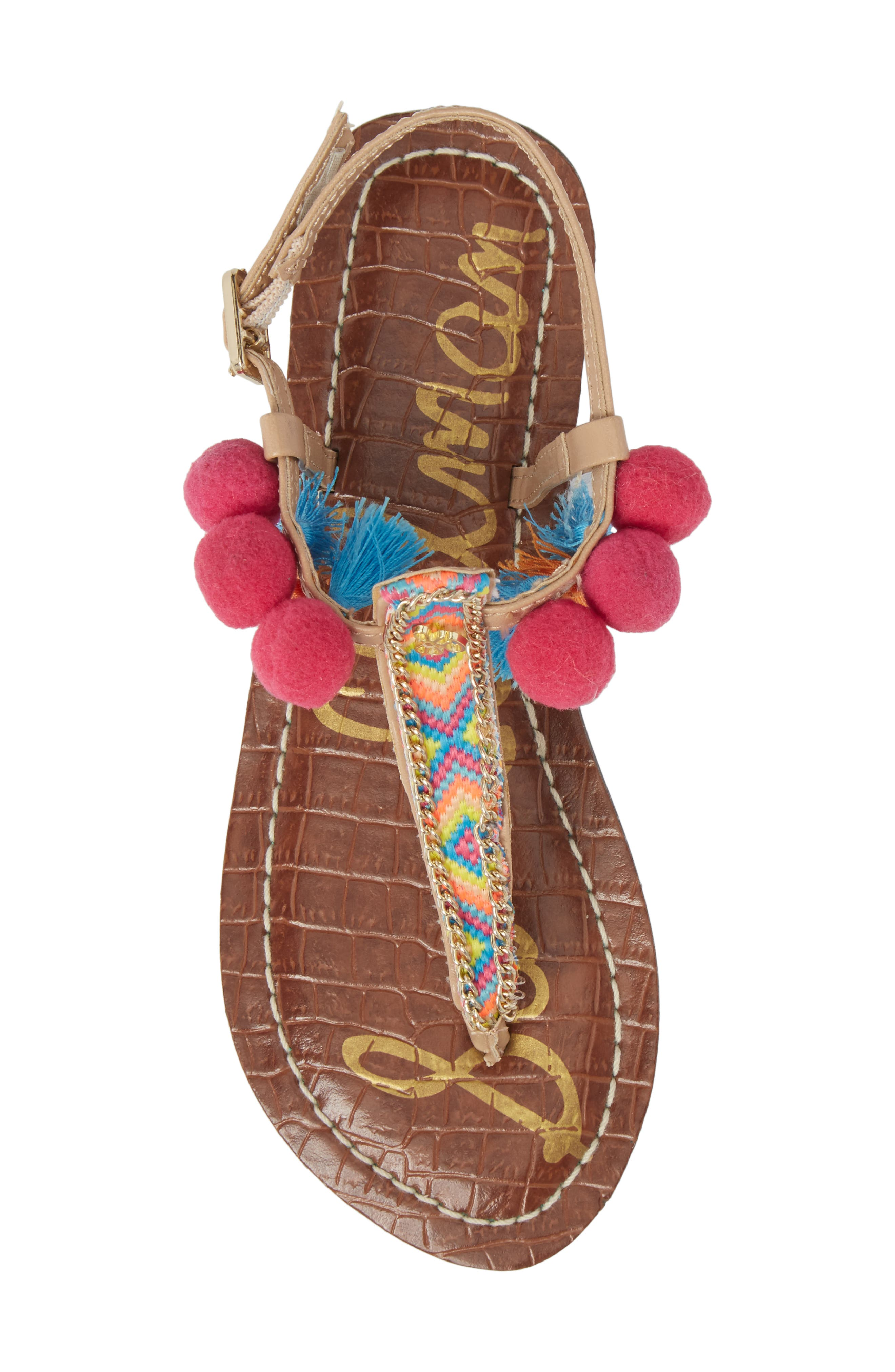Gigi Embellished Thong Sandal,                             Alternate thumbnail 5, color,                             Natural Faux Leather
