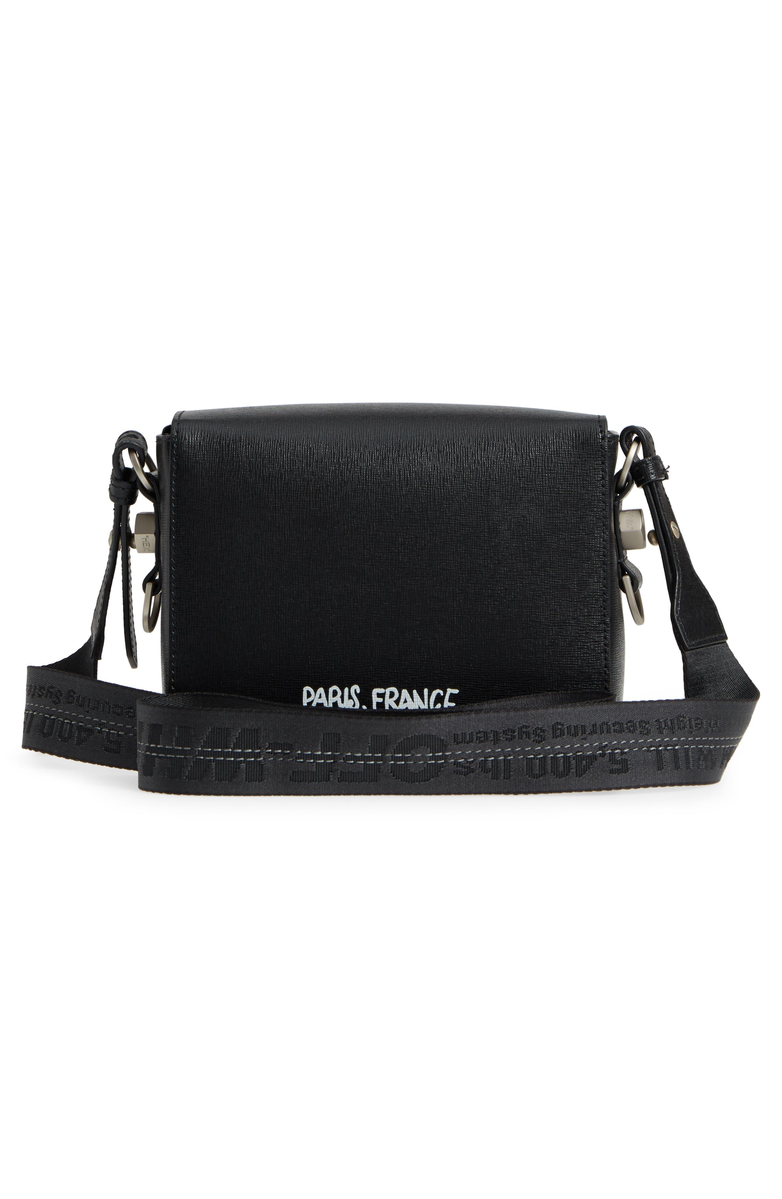 Virgil Was Here Binder Clip Leather Shoulder Bag,                             Alternate thumbnail 4, color,                             Black White