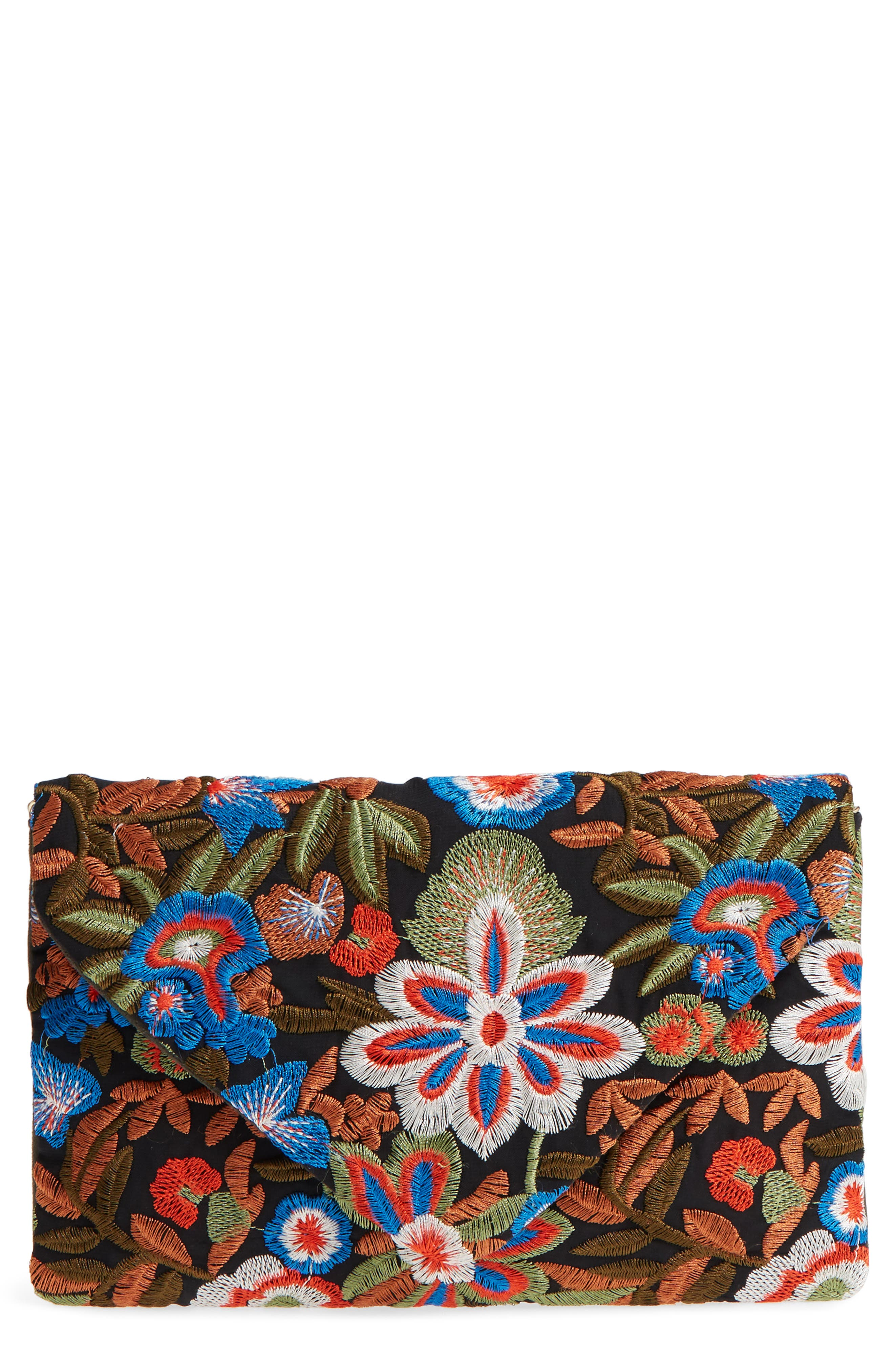Embroidered Envelope Clutch,                             Main thumbnail 1, color,                             Blue Multi
