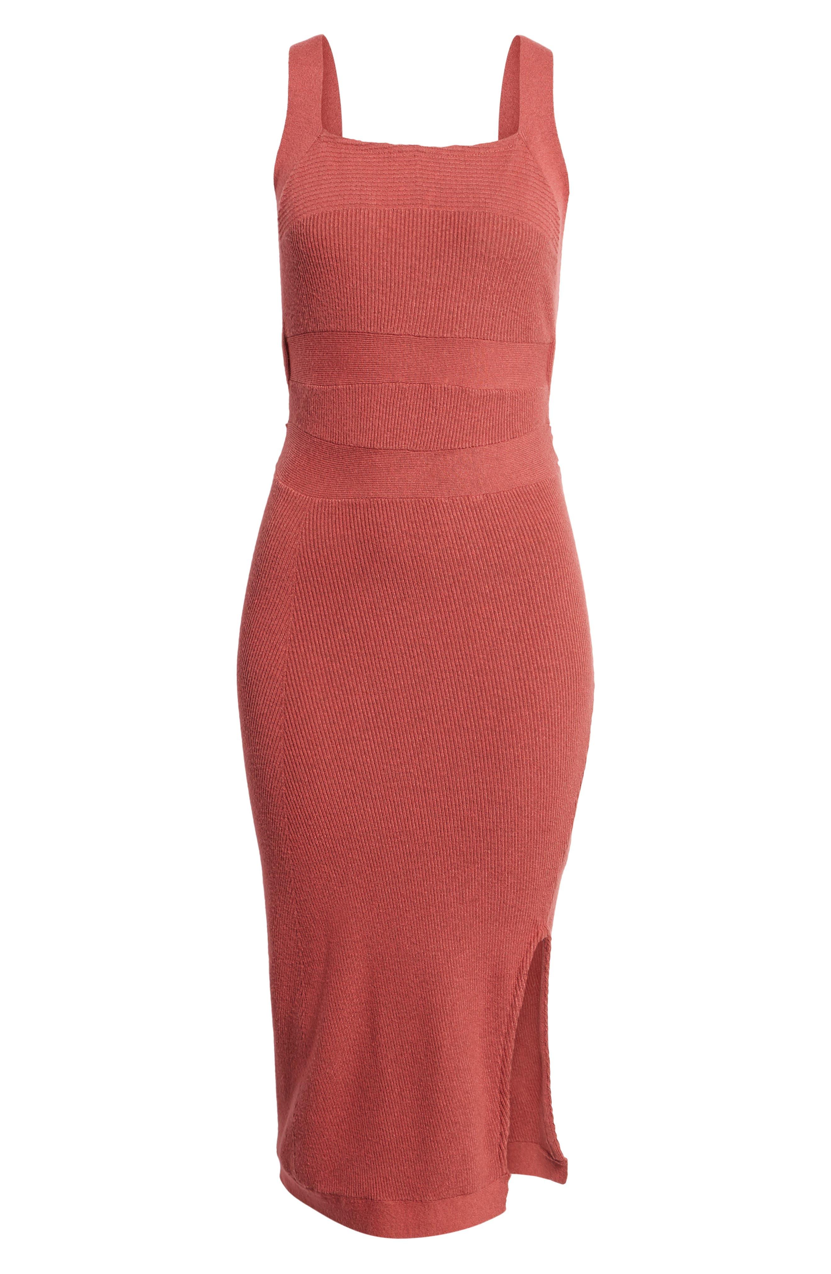 Midi Body-Con Dress,                             Alternate thumbnail 6, color,                             Red Baroque