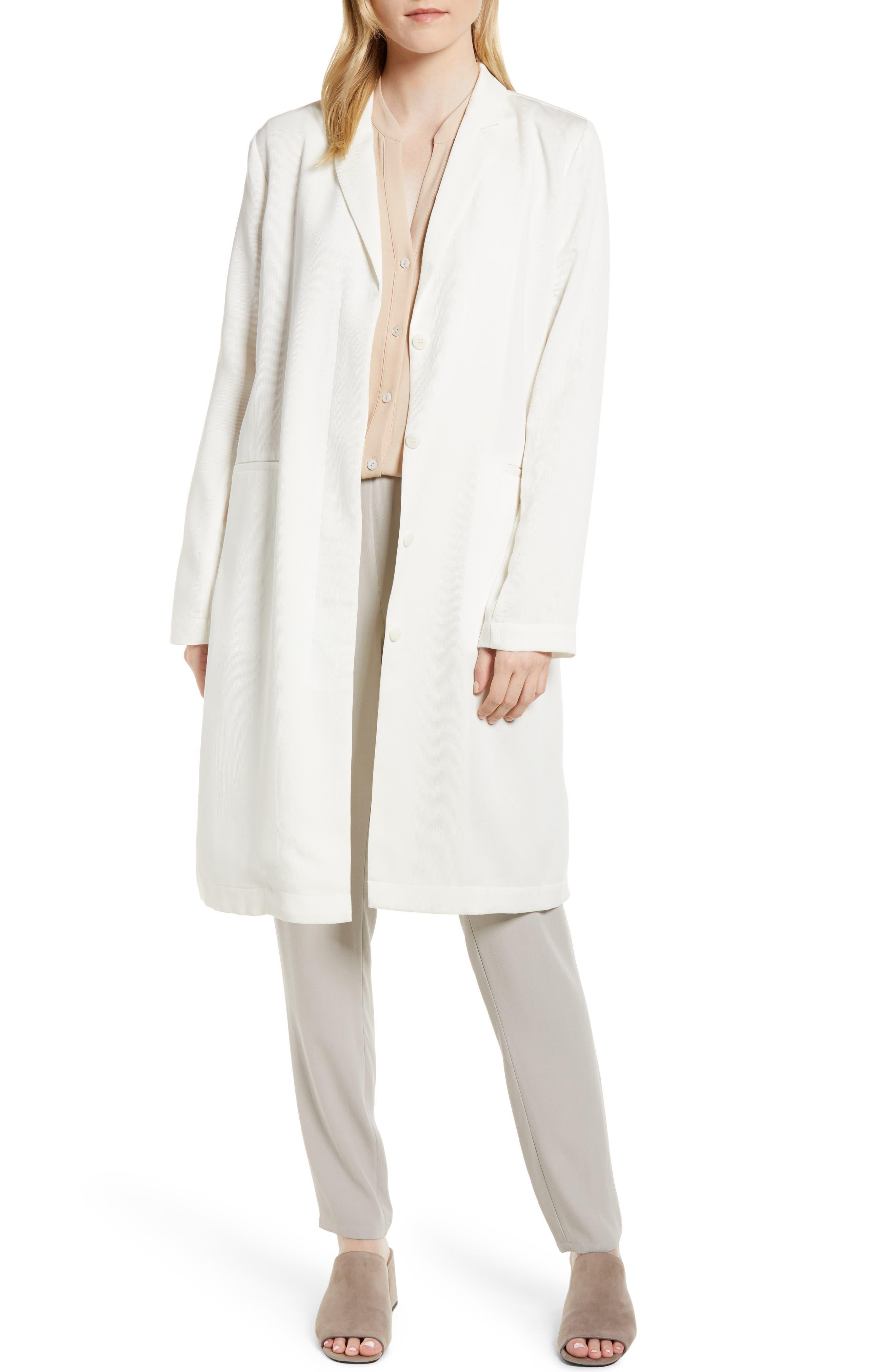 Long Tencel<sup>®</sup> Lyocell Jacket,                         Main,                         color, White