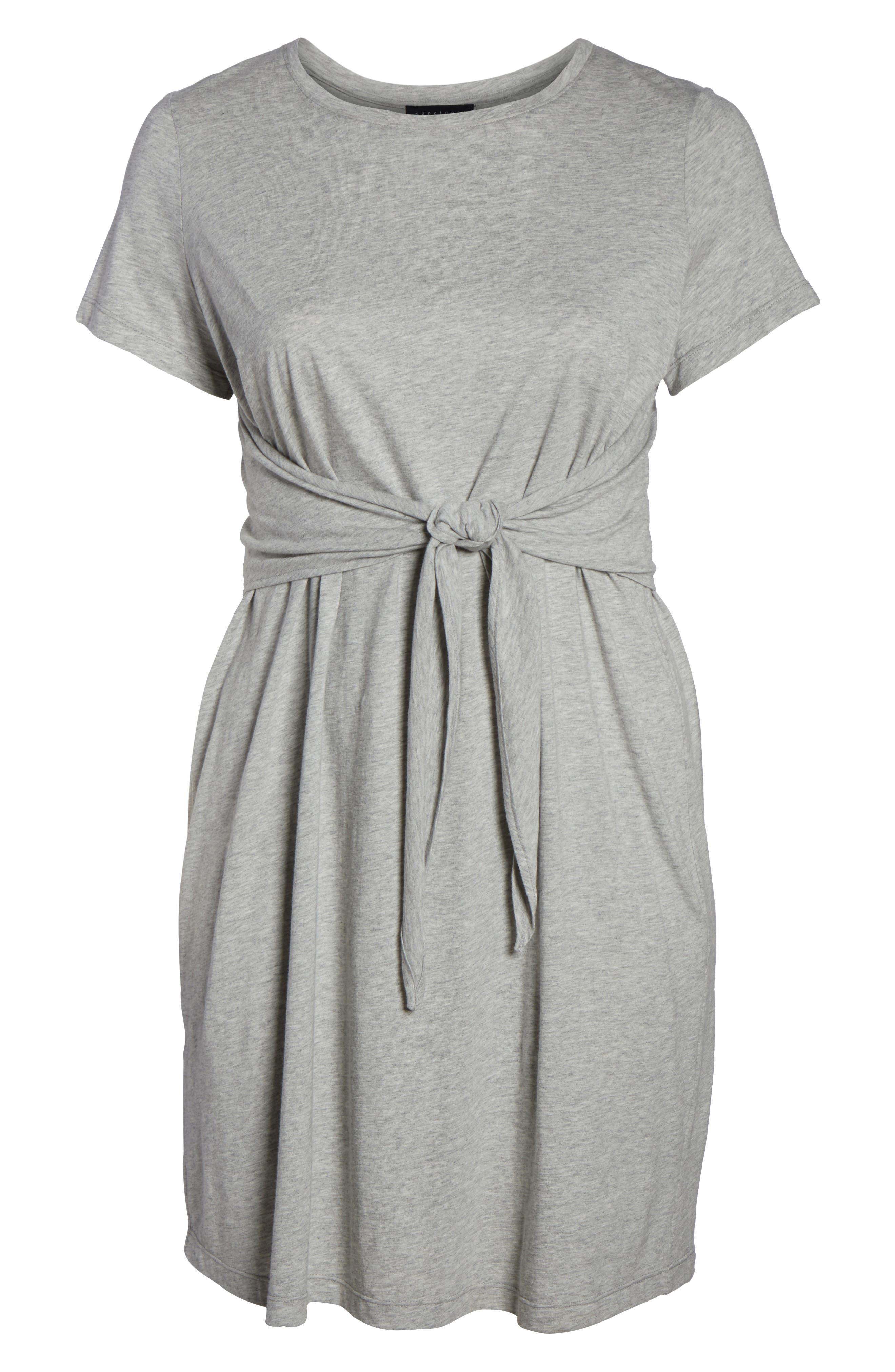 Juno Tie Waist T-Shirt Dress,                             Alternate thumbnail 6, color,                             Heather Grey