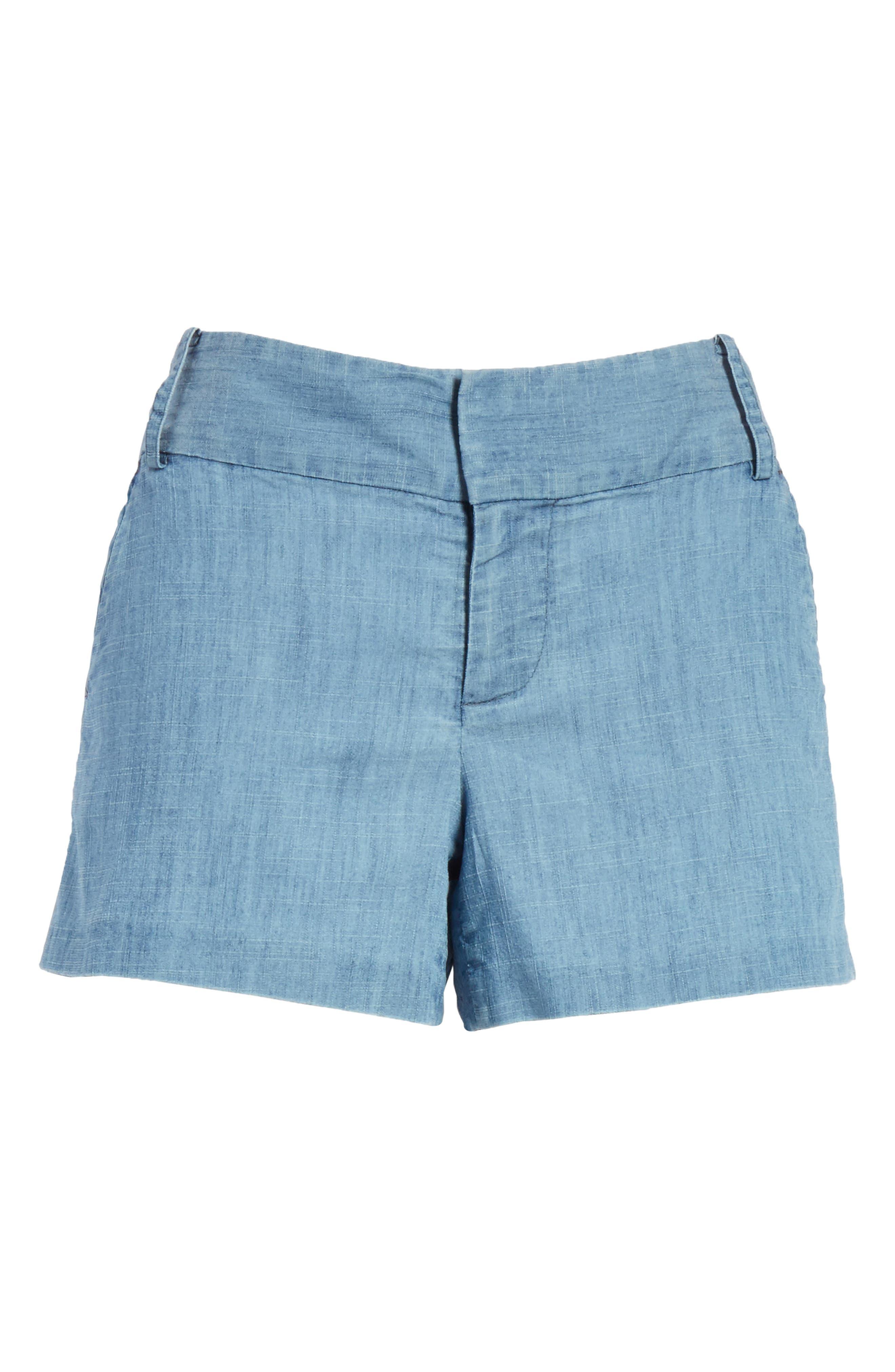 Cady Lyocell Blend Shorts,                             Alternate thumbnail 6, color,                             Light Chambray
