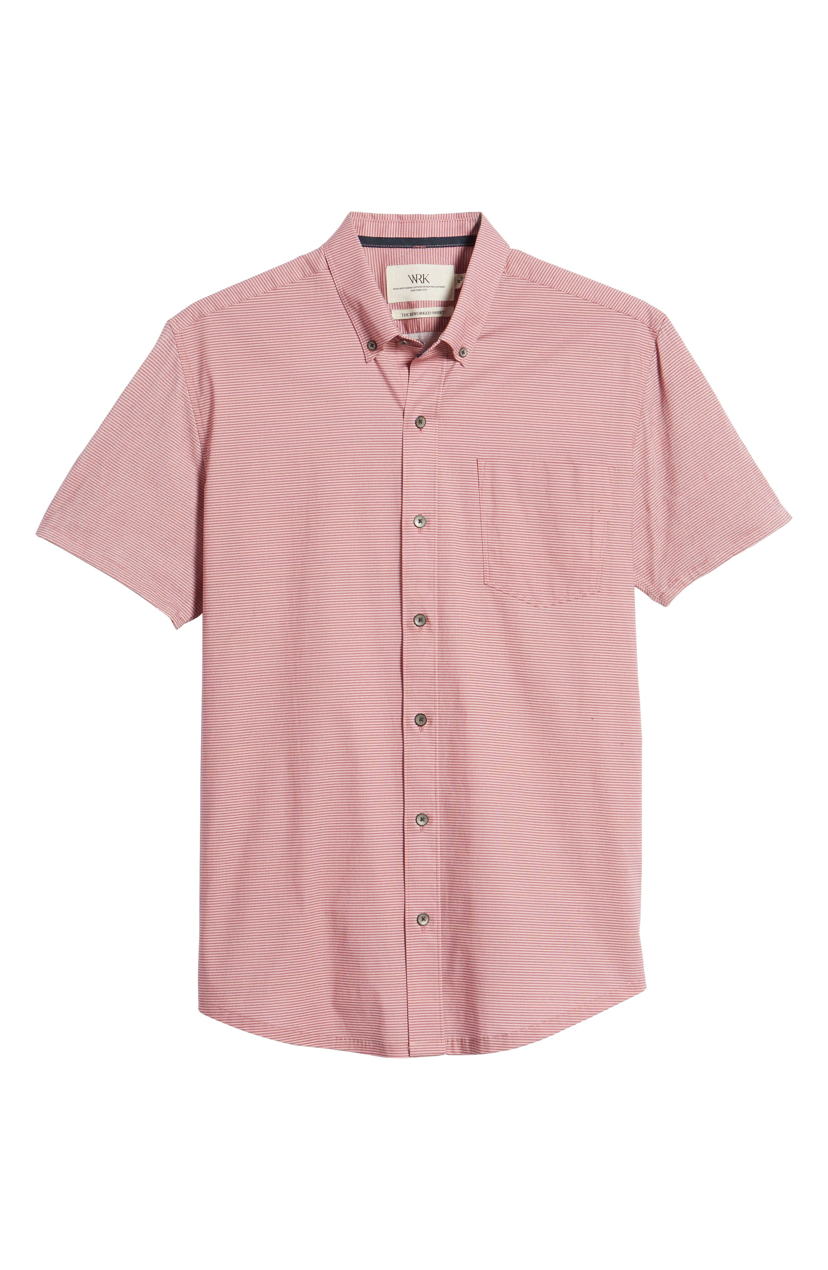 Reworked Slim Fit Micro Stripe Sport Shirt,                             Alternate thumbnail 6, color,                             Pink