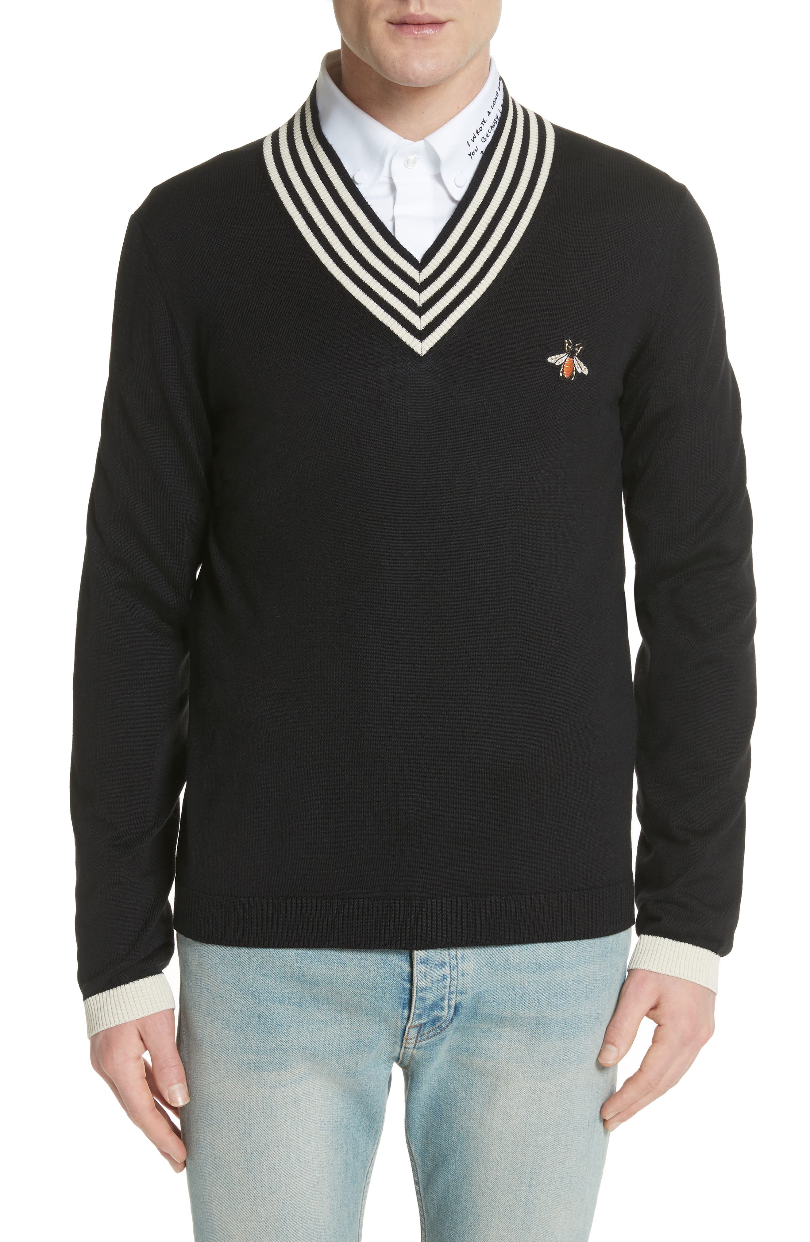 Bee Appliqué Wool Pullover Sweater,                         Main,                         color, 1831 Black