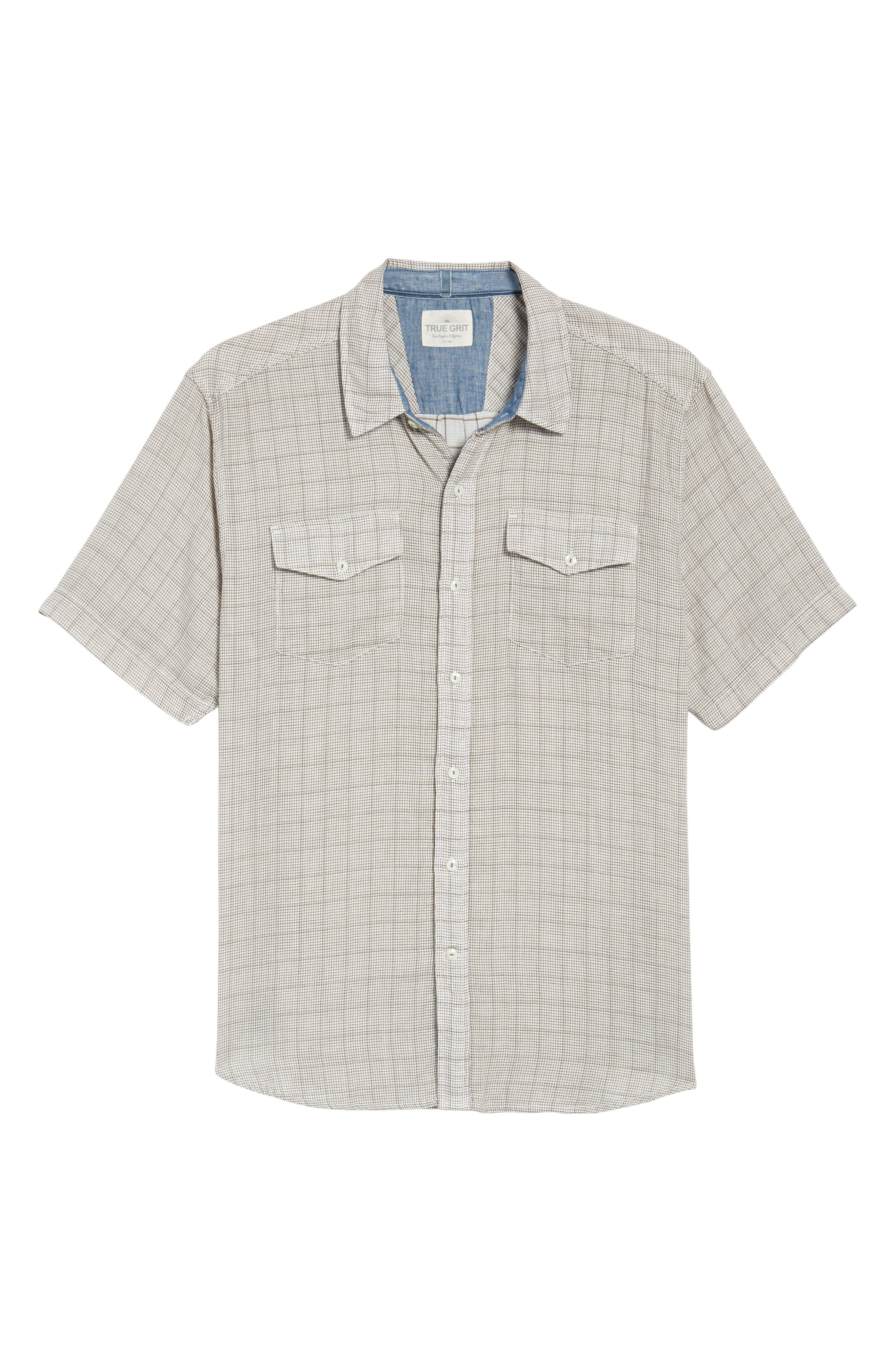 Crossroads Check Sport Shirt,                             Alternate thumbnail 6, color,                             Brown