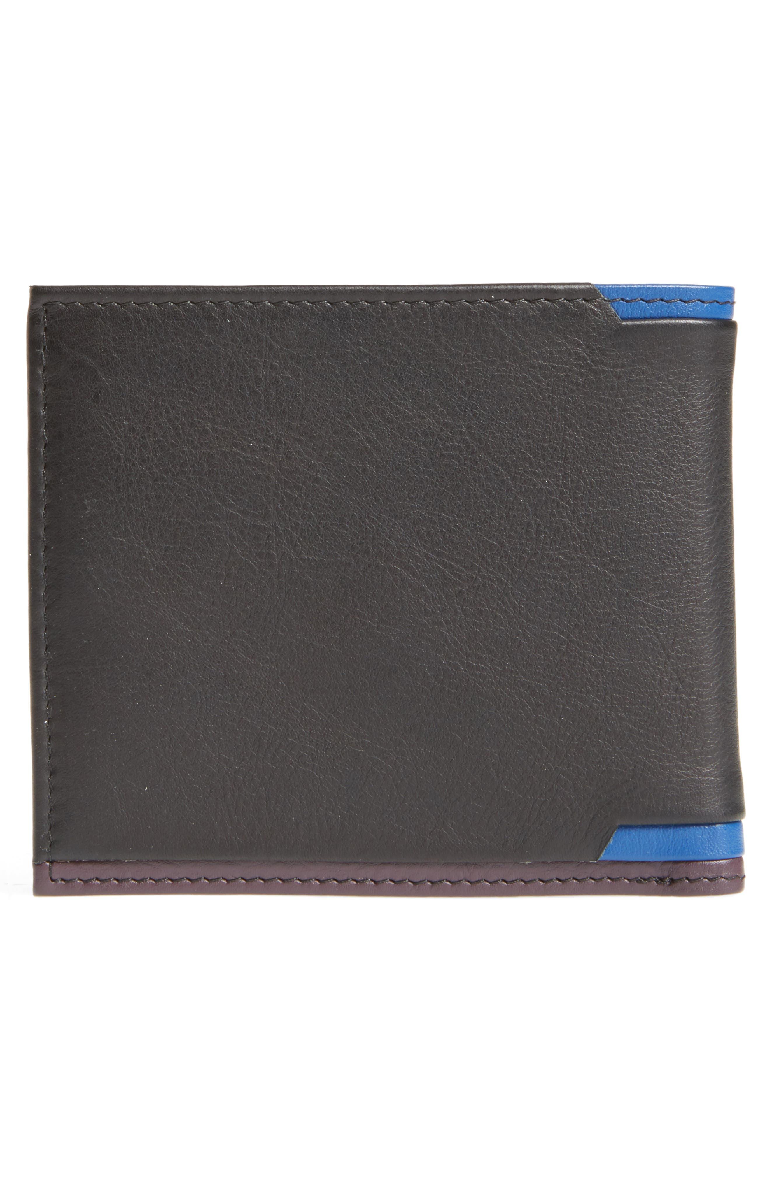 Baldi Corner Detail Leather Wallet,                             Alternate thumbnail 3, color,                             Black